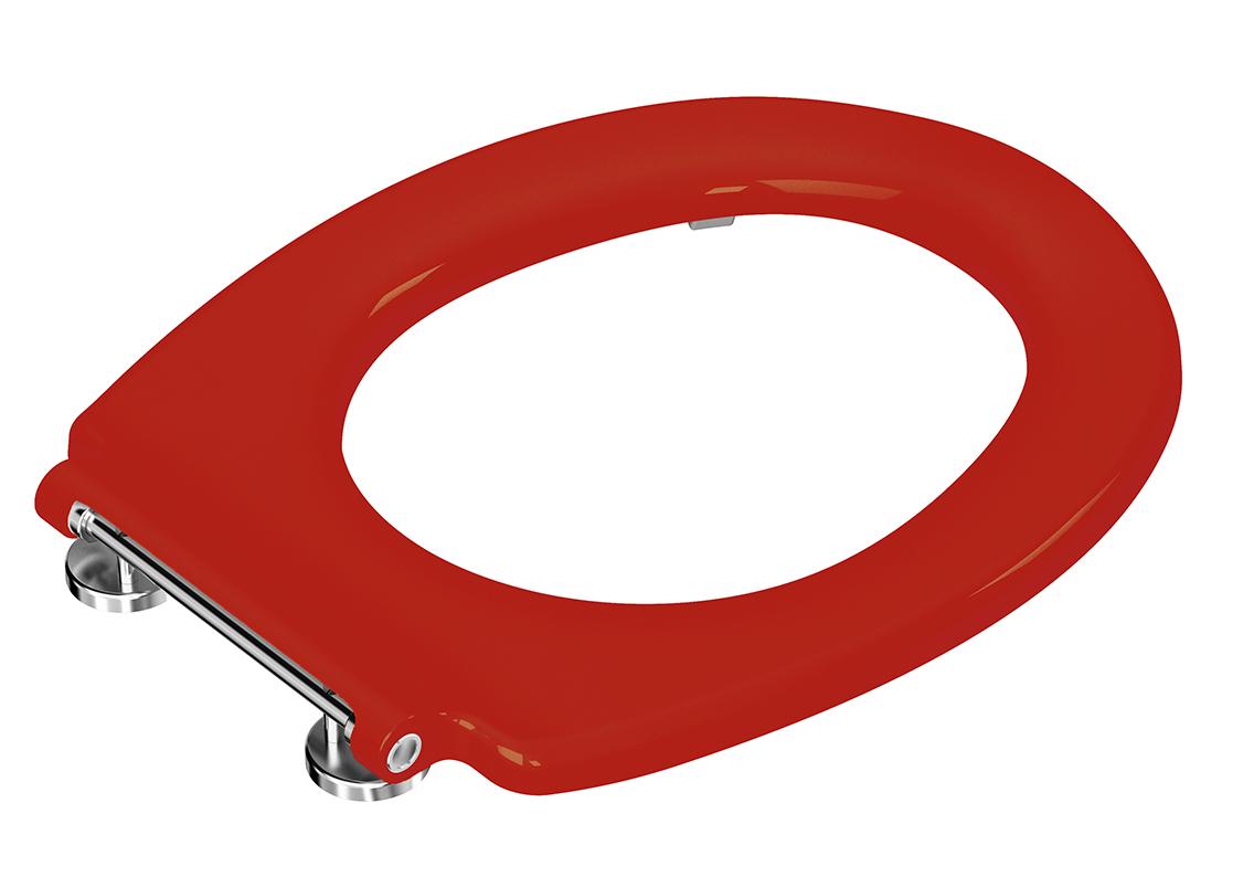 Conforma WC-Sitzring ohne Absenkautomatik mit durchgehender Scharnierwelle Rot