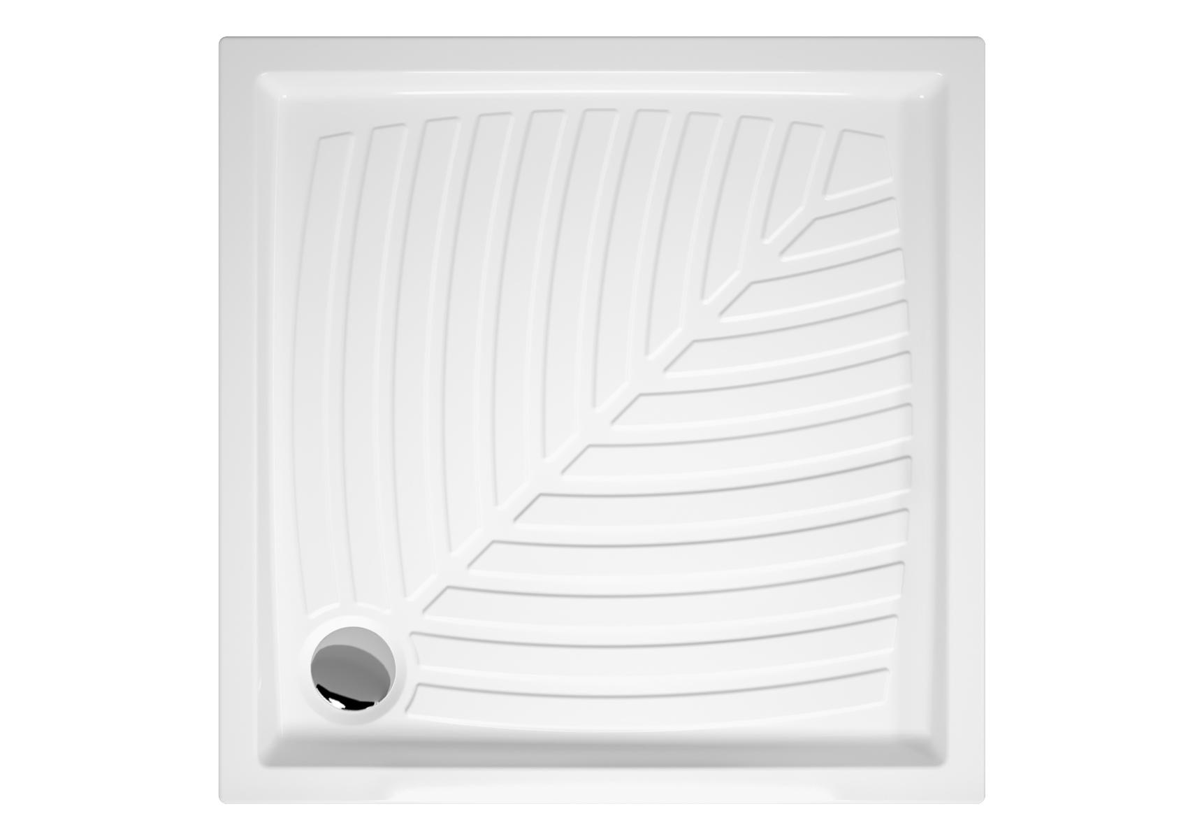 Arkitekt receveur à encastrer ou à poser fond extra plat, 80  x  80 cm, blanc
