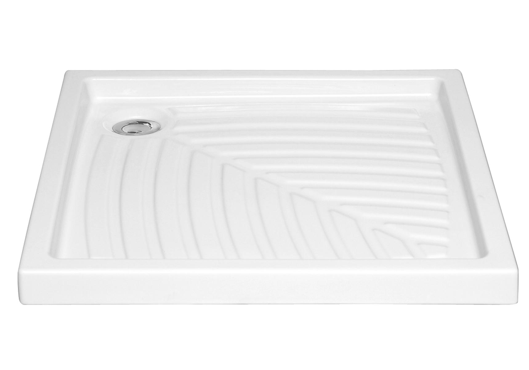 Arkitekt receveur à encastrer ou à poser fond extra plat, VitrA Antislip, 80  x  80 cm, blanc