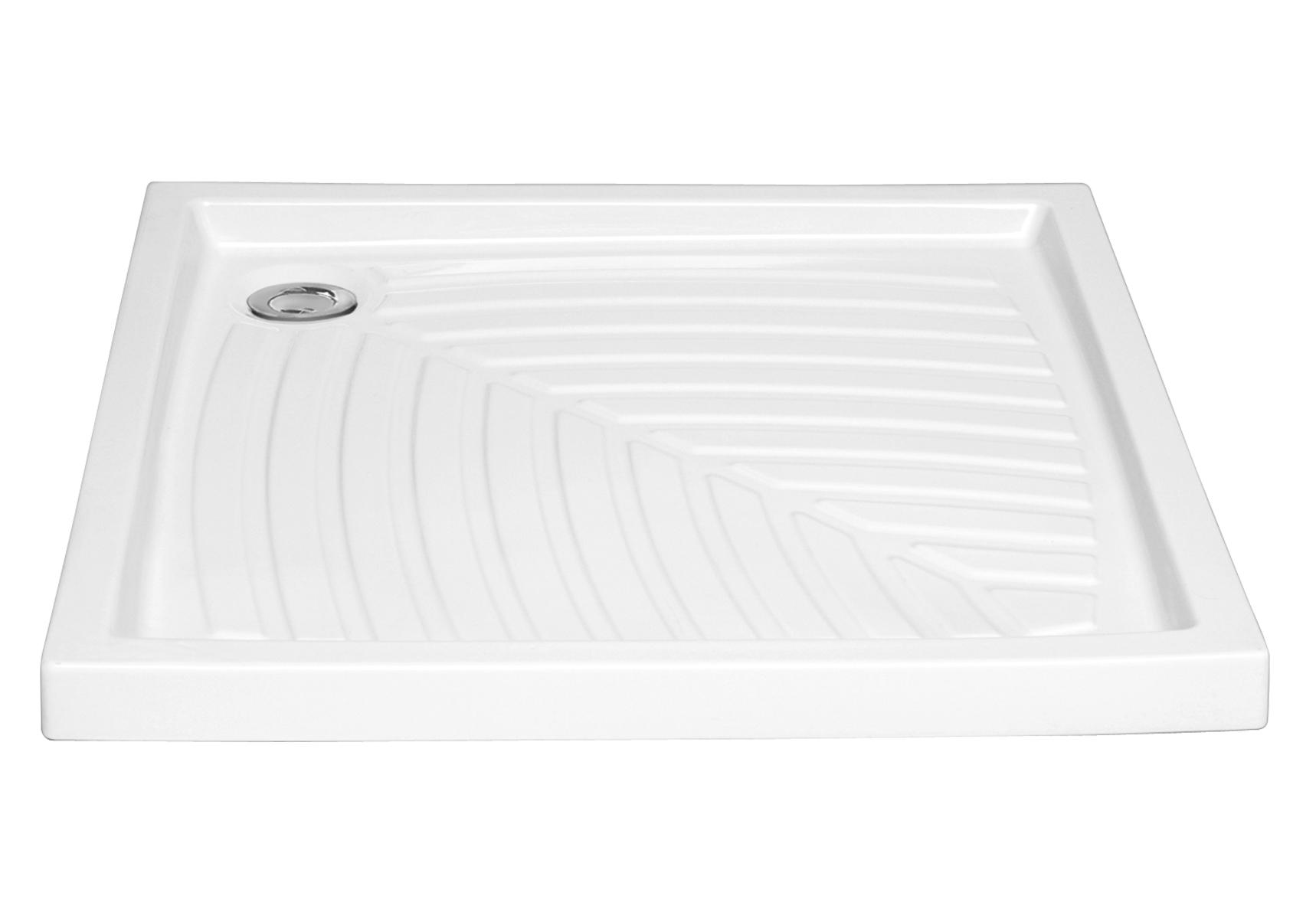 Arkitekt receveur à encastrer ou à poser fond extra plat, VitrA Antislip, 90  x  90 cm, blanc