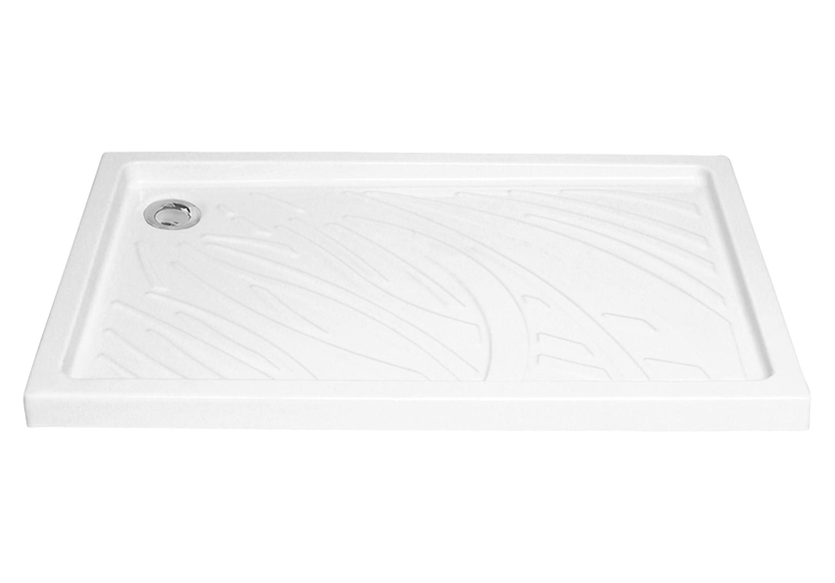 Arkitekt receveur à encastrer ou à poser fond extra plat, 120  x  80 cm, blanc