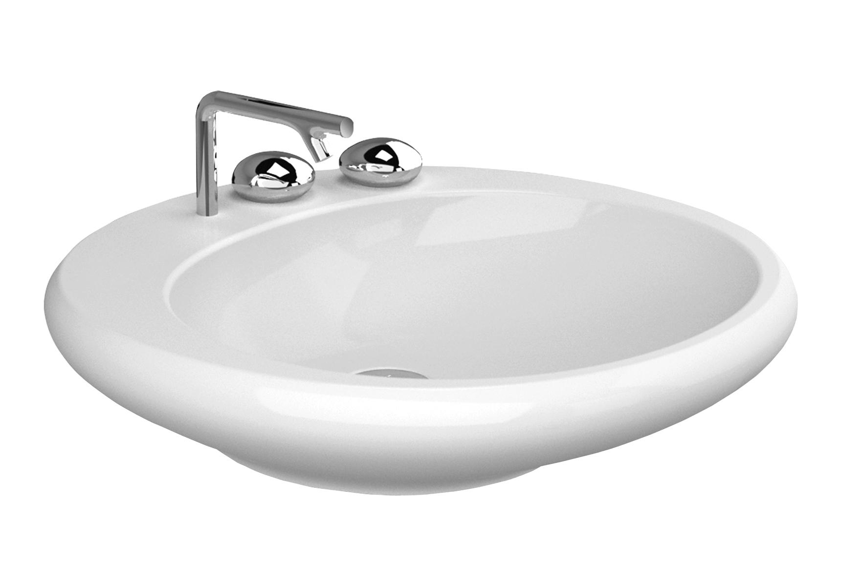 Istanbul Aufsatzwaschtisch, 60 cm, 1 Hahnloch, Weiß mit VitrA Clean