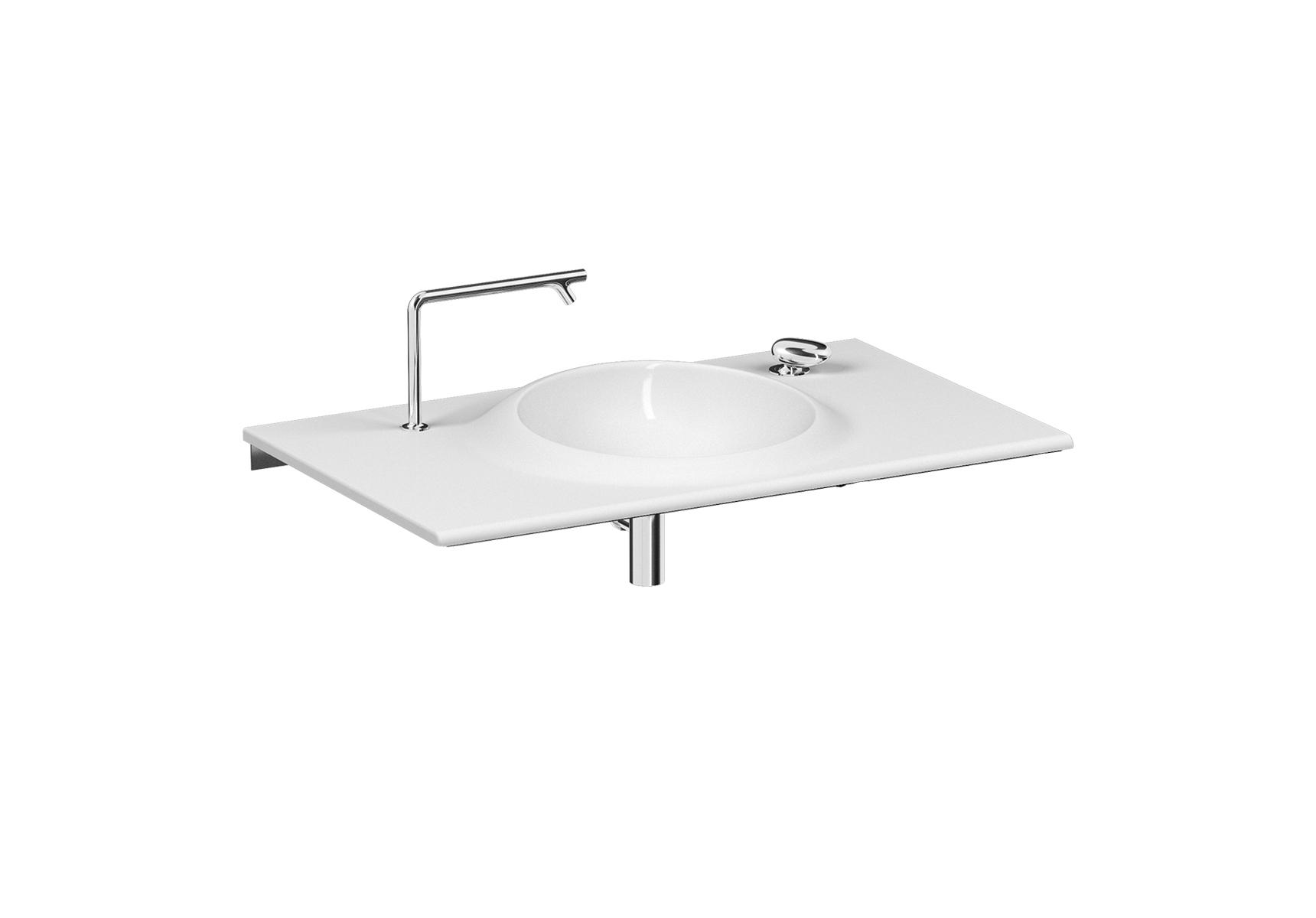 Istanbul lavabo, avec trou pour robinet et trou pour levier d'actionnement, 100 cm, blanc