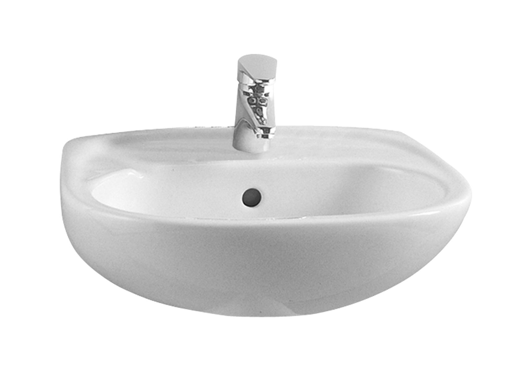 Normus lave-mains, 45 cm, 1 trou de robinet central, avec trop-plein