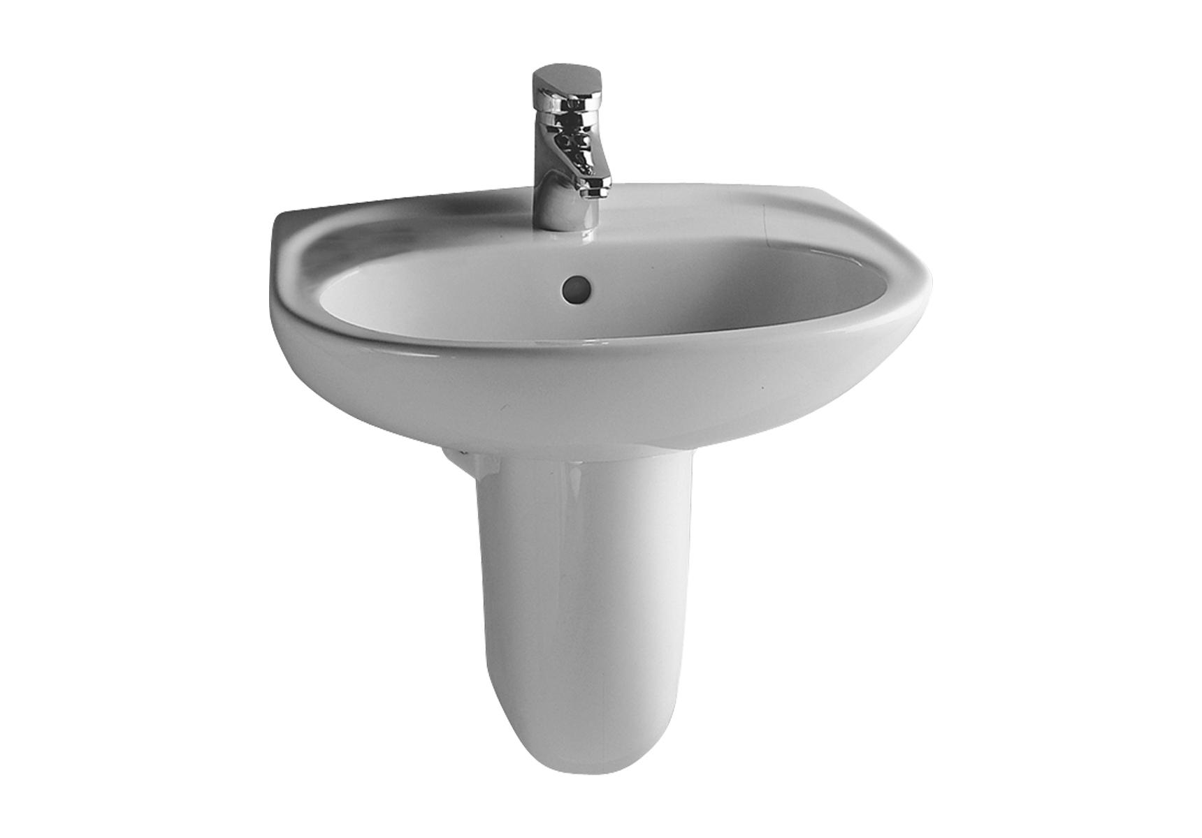 Normus lave-mains, 50,5 cm, 1 trou de robinet central, avec trop-plein