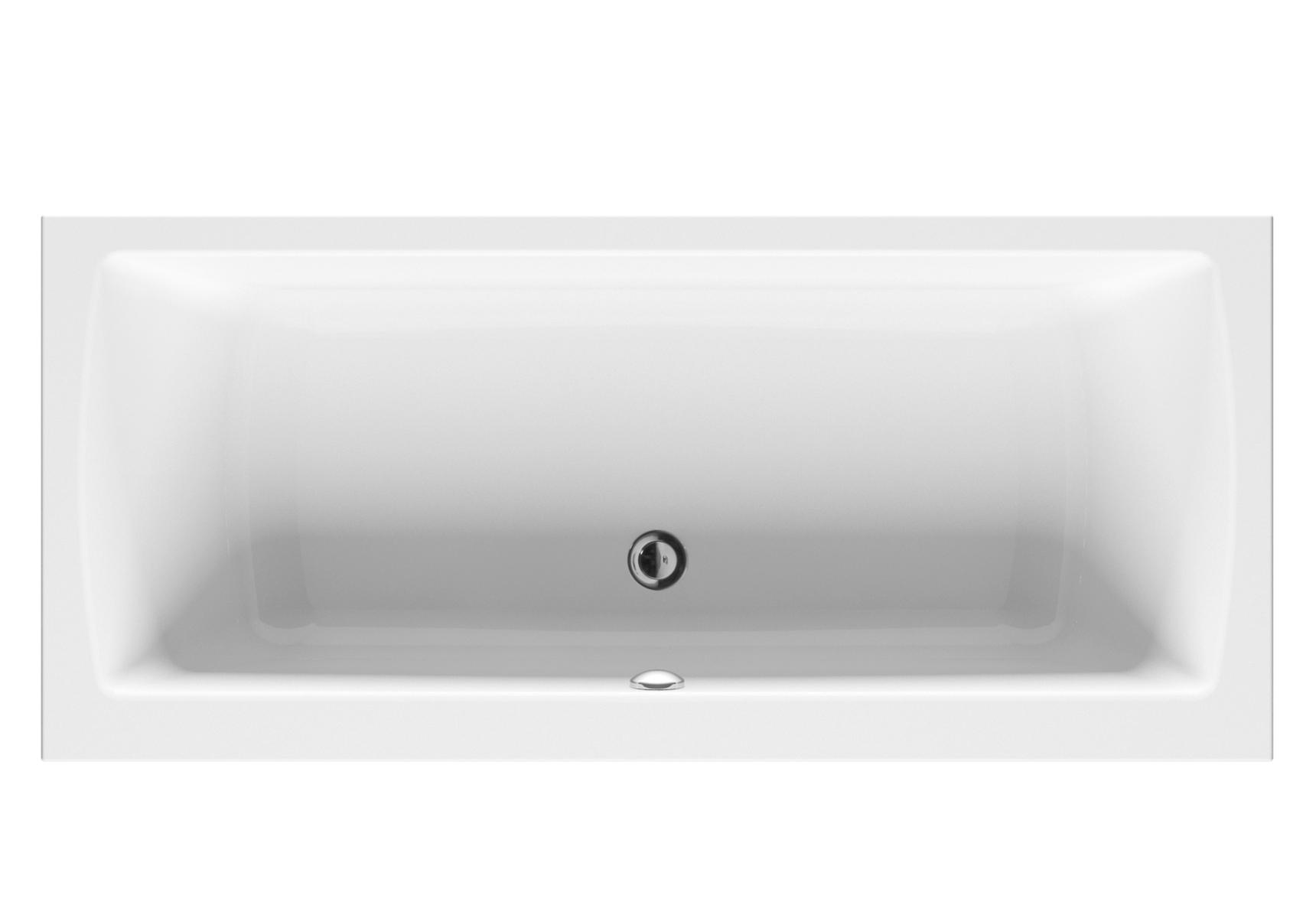 Integra baignoire ergonomique rectangulaire avec vidage central en acrylique 5 mm, 180  x  80 cm