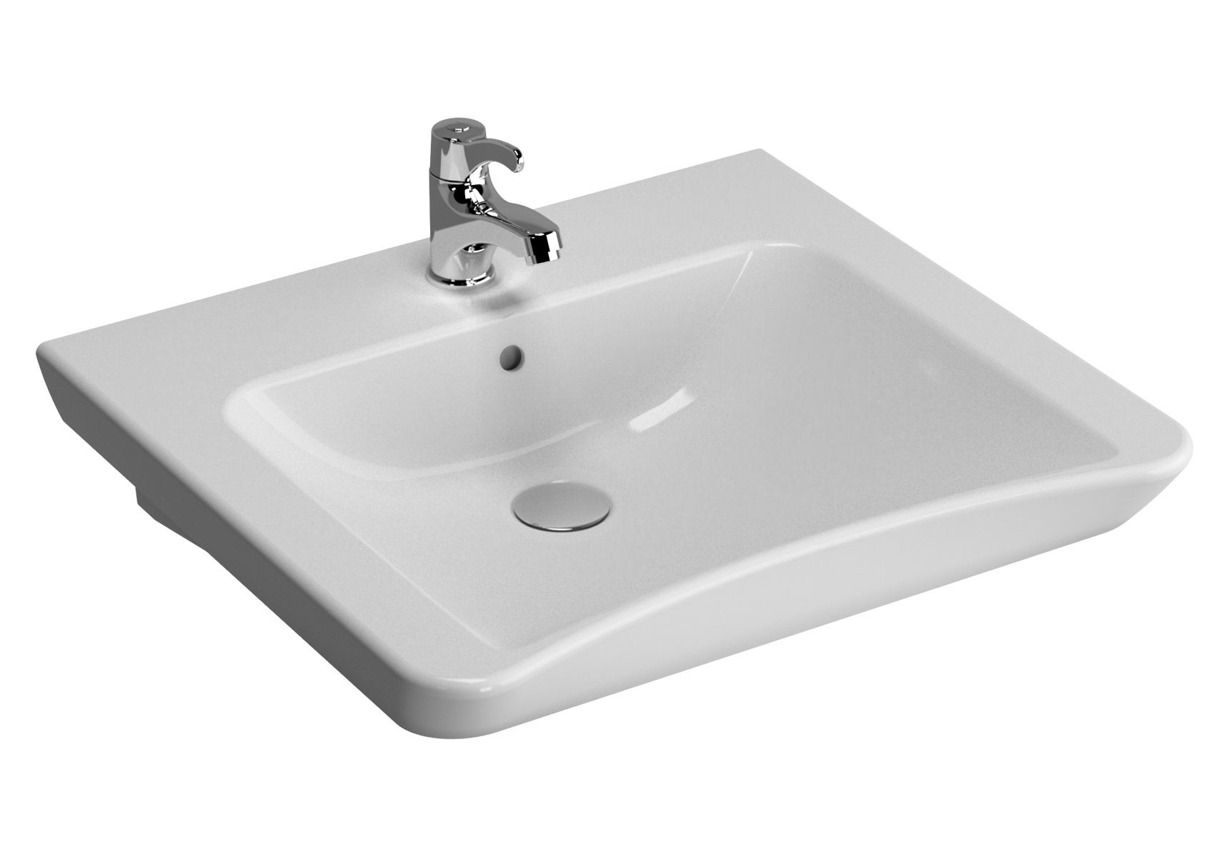 Conforma lavabo PMR, 60 cm, sans trou de robinet, avec trou de robinet de trop-plein