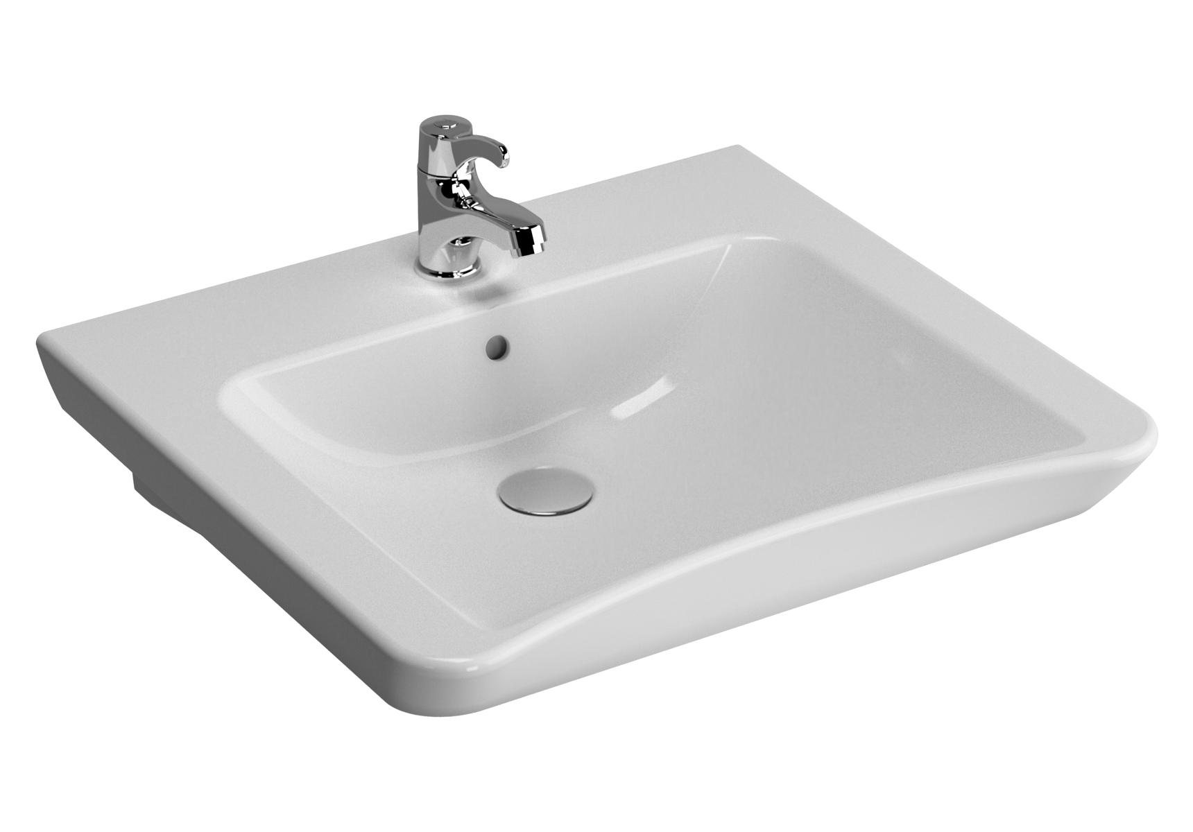 Conforma lavabo PMR, 60 cm, avec équerre de fixation, avec trou de robinet de trop-plein