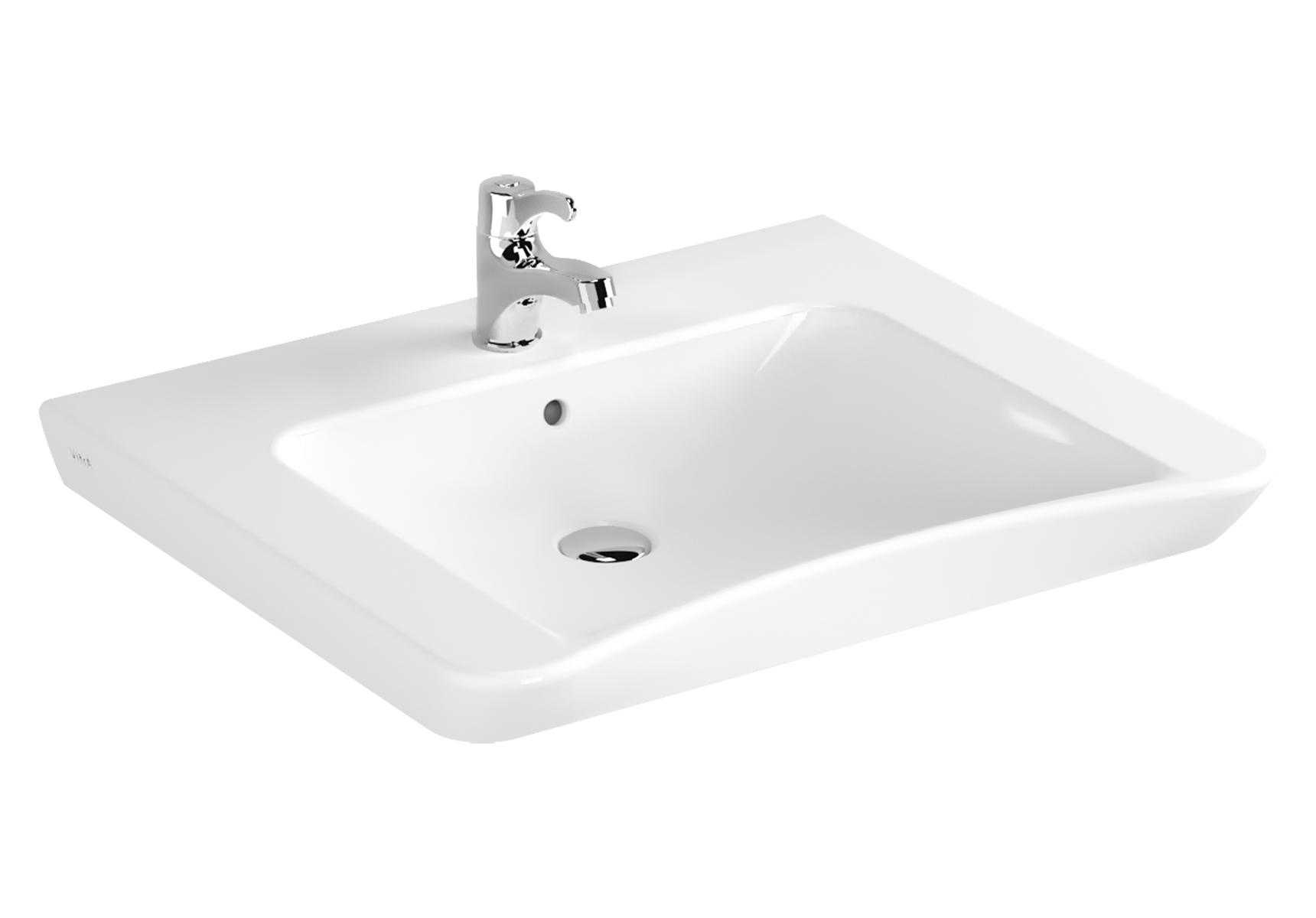 Conforma lavabo PMR, 65 cm, avec équerre de fixation, avec trou de robinet de trop-plein