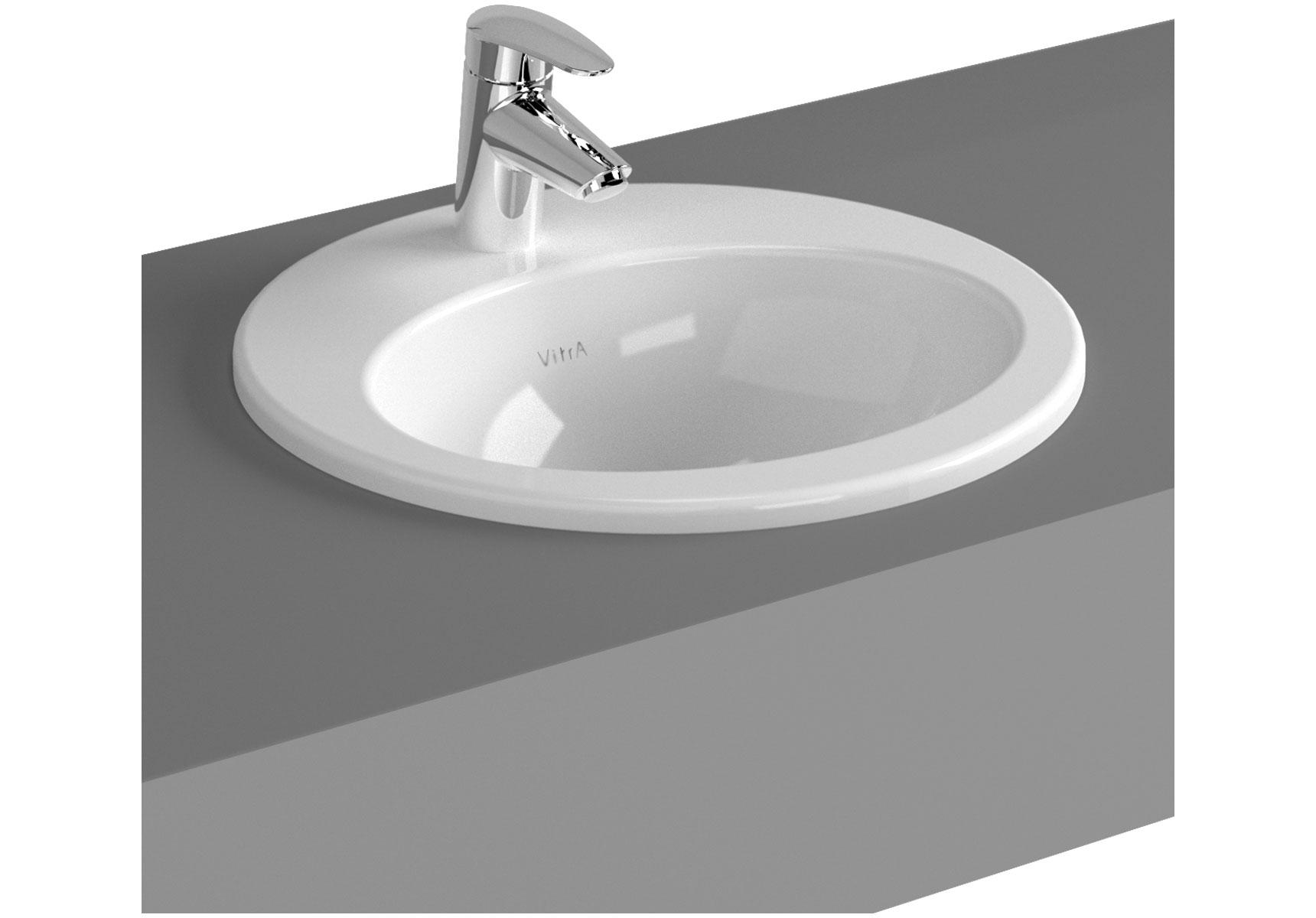 S20 vasque encastré, 43 cm, 1 trou de robinet central, avec trop-plein