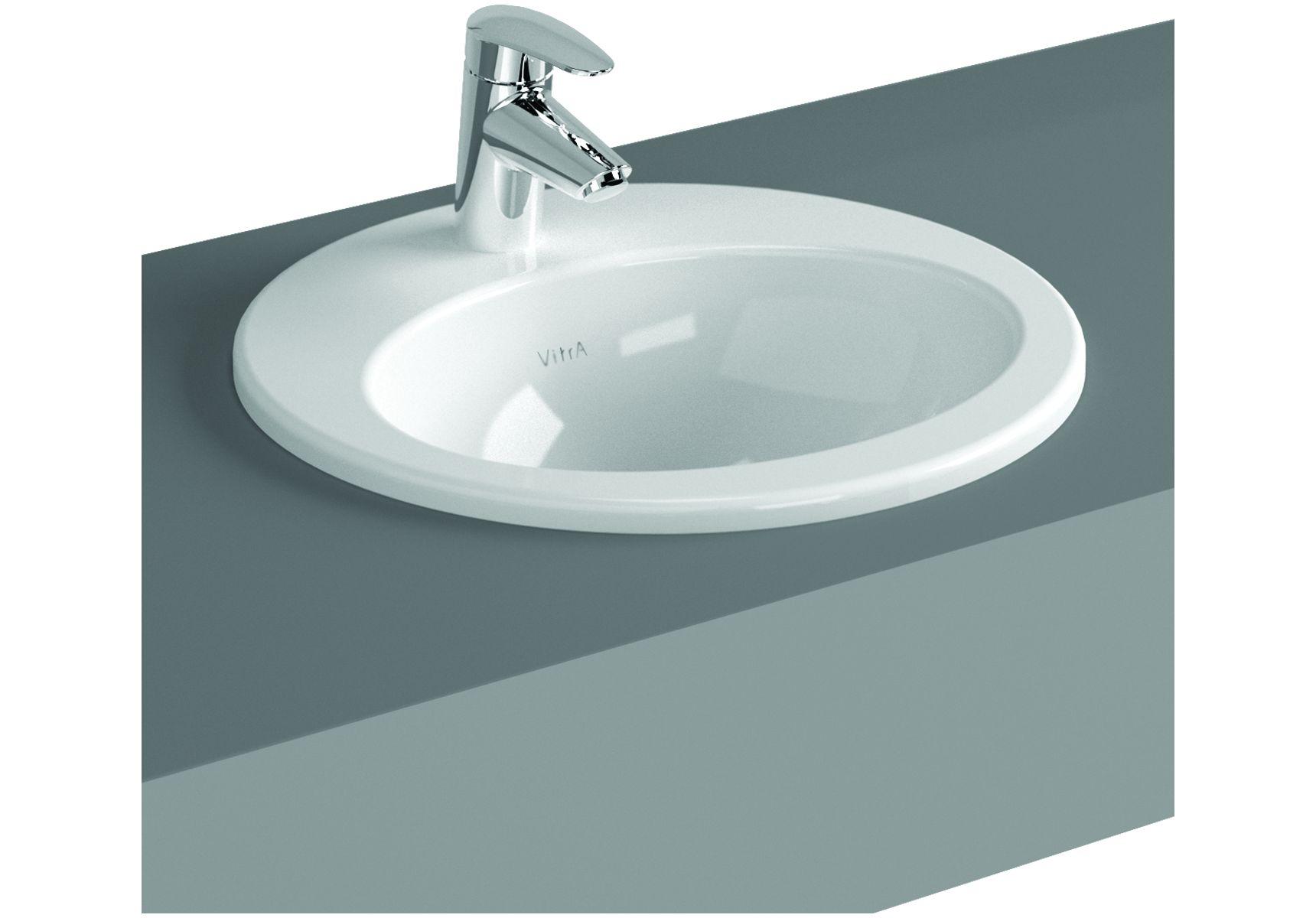 S20 vasque encastré, 48 cm, 1 trou de robinet central, avec trop-plein