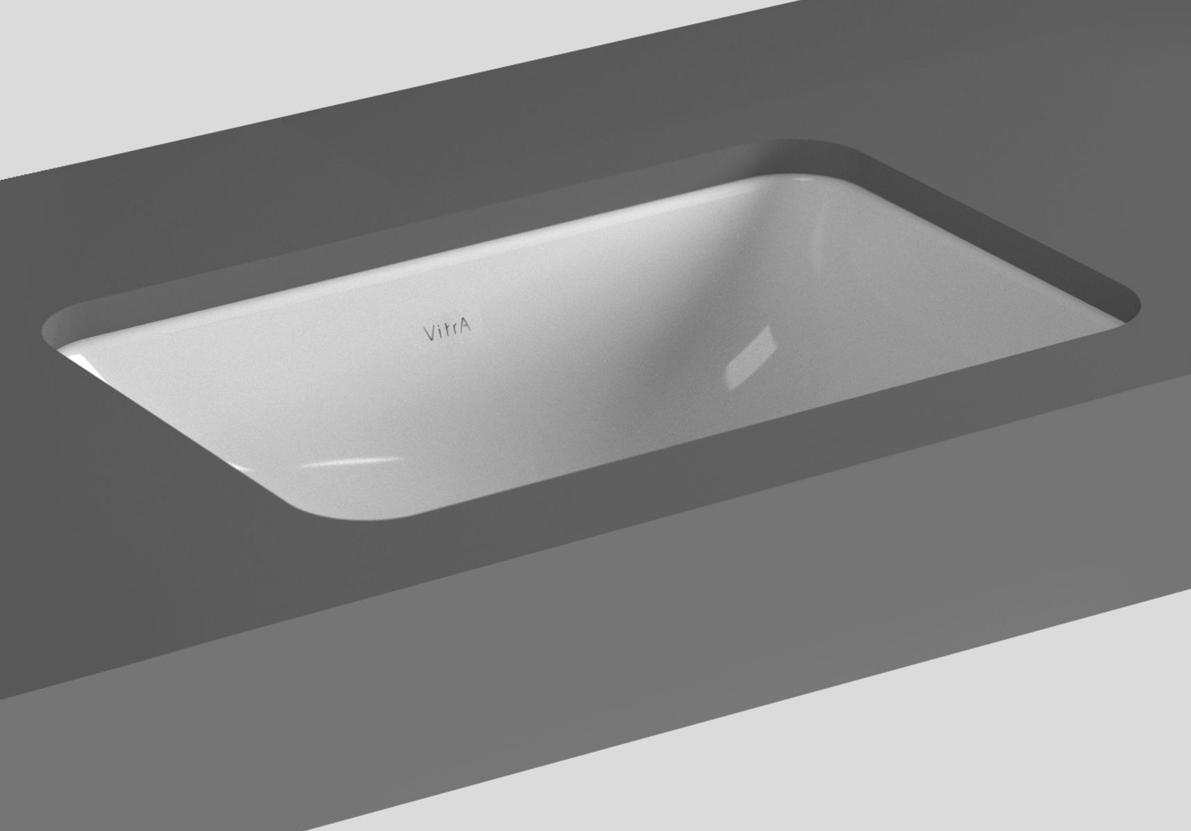 S20 vasque à encastrer par dessous, 48 cm, sans plage de robinetterie, sans trop-plein, blanc