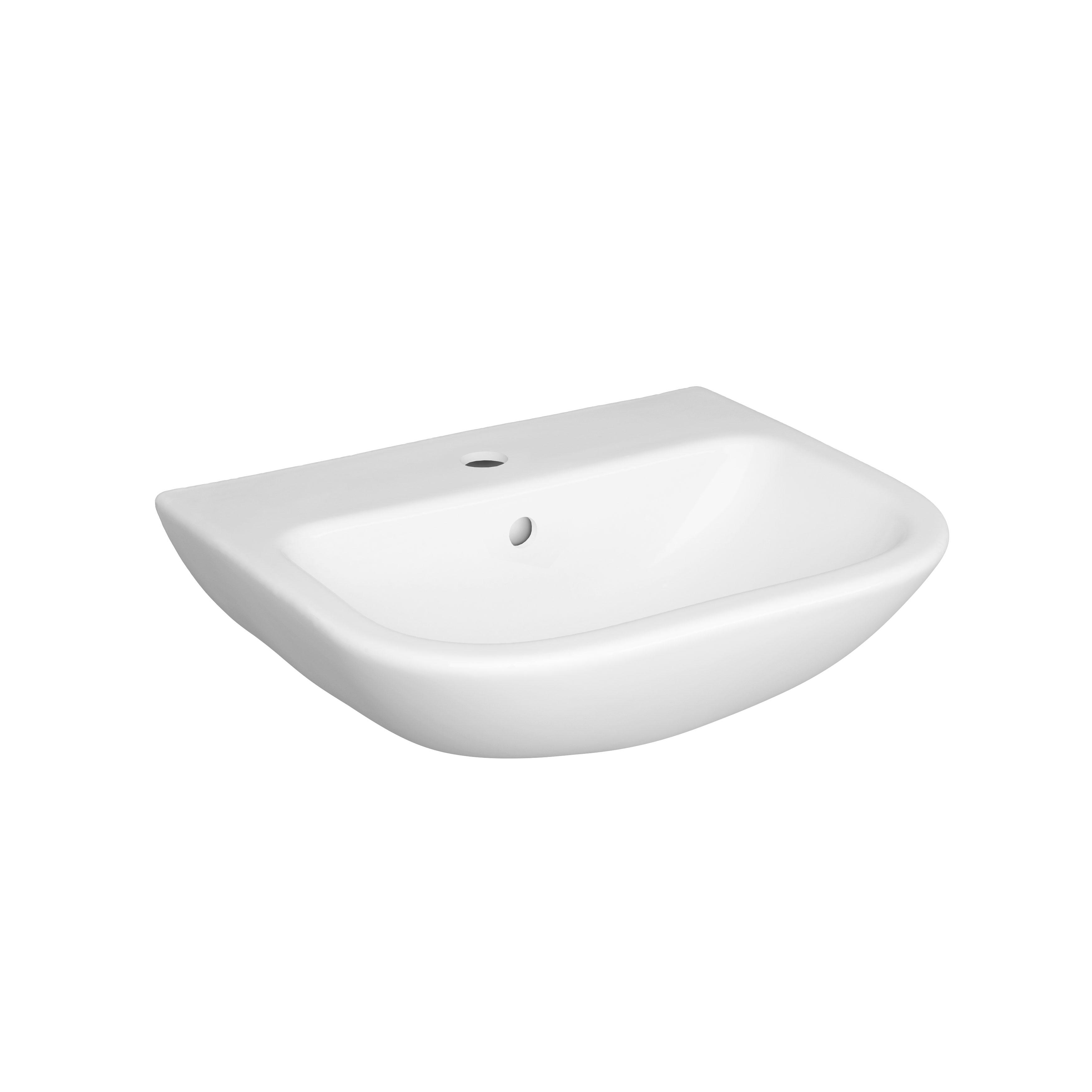 S20 Waschtisch, 50 cm, 1 Hahnloch, Weiß