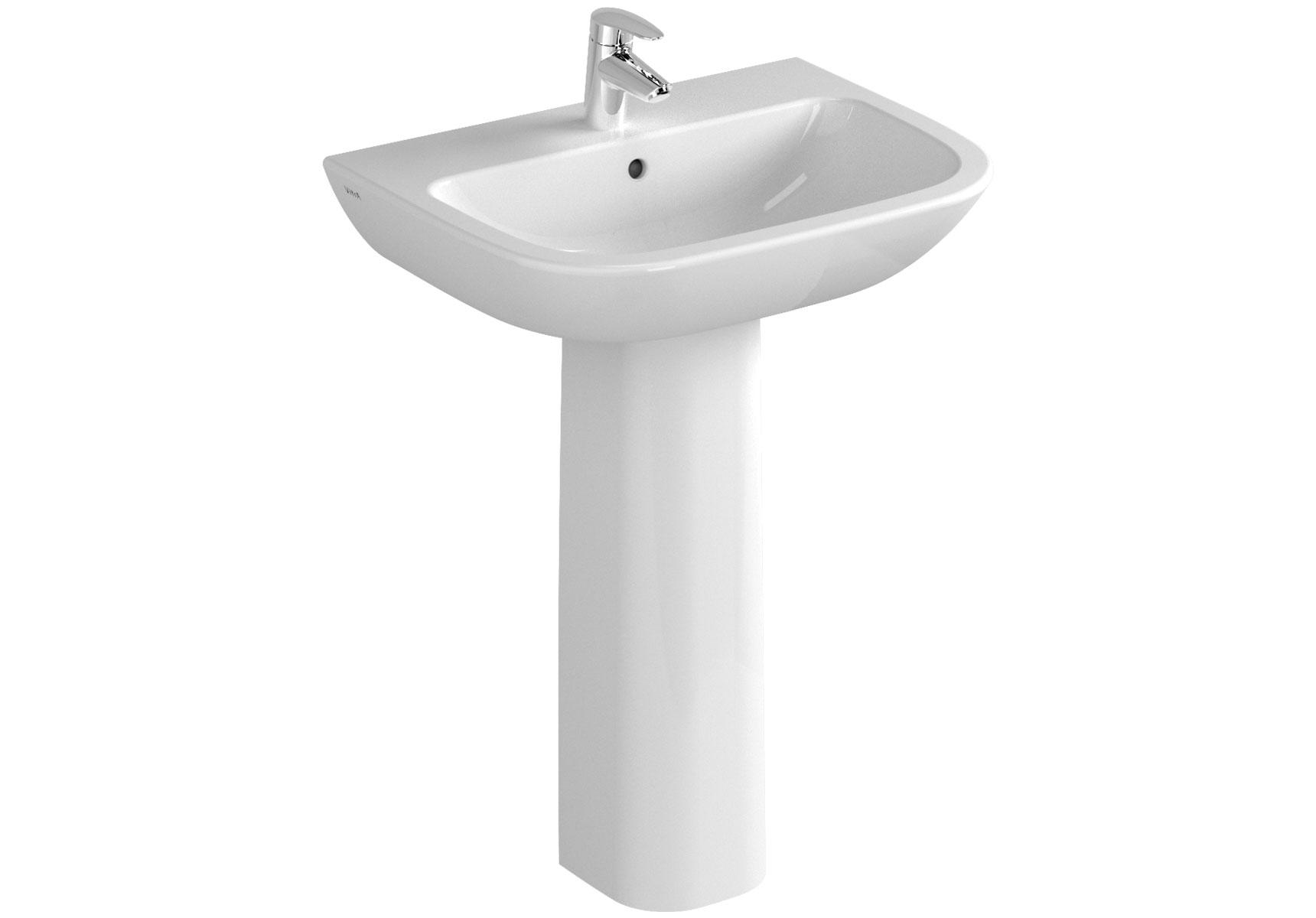 S20 Waschtisch, 60 cm, 1 Hahnloch mittig, mit Überlaufloch, Weiß