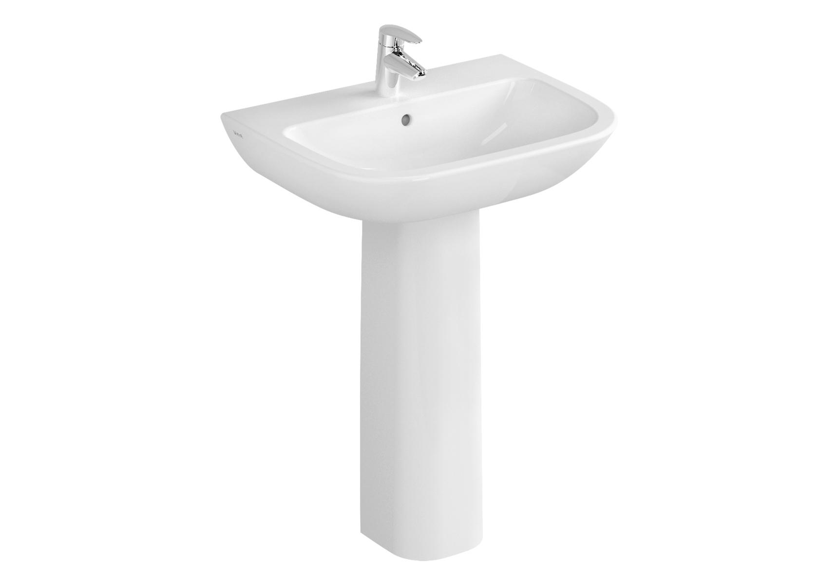 S20 Waschtisch, 60 cm, ohne Hahnloch, ohne Überlaufloch, Weiß