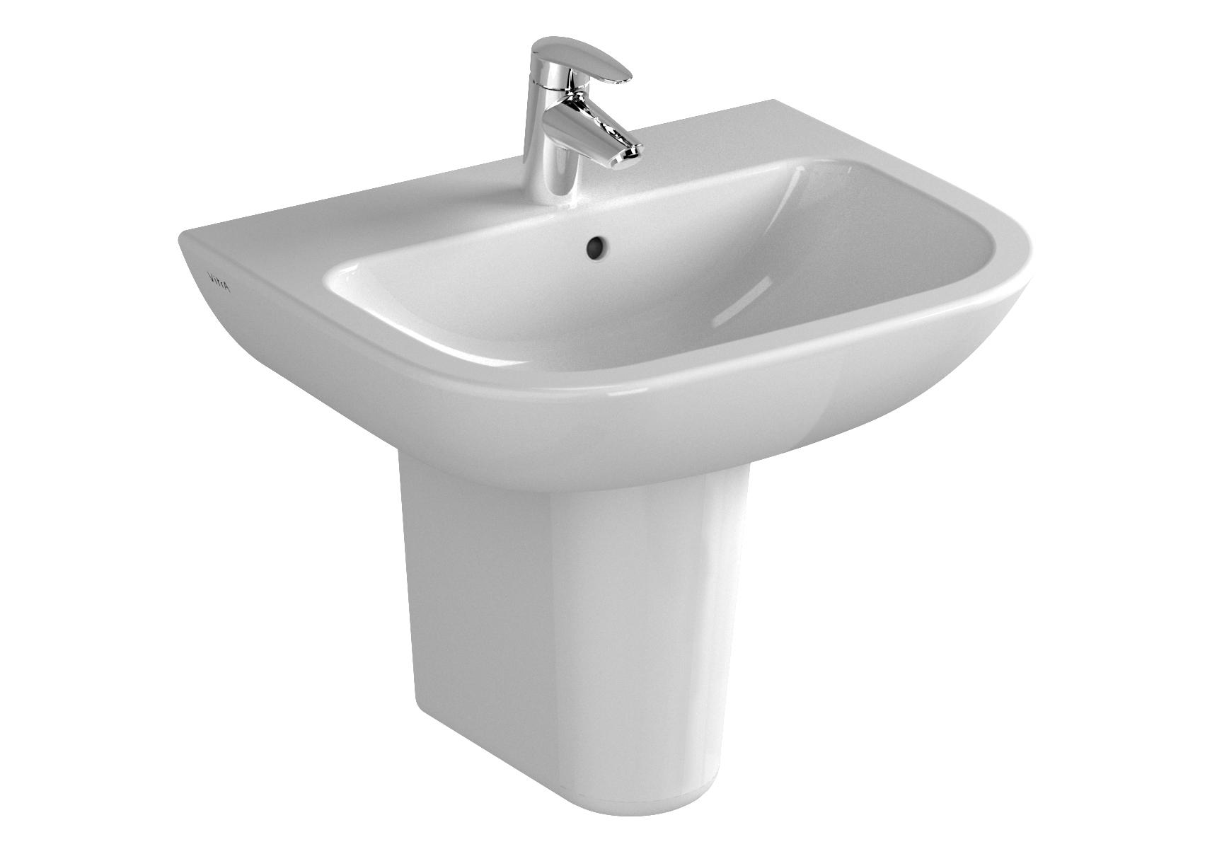 S20 Waschtisch, 60 cm, 1 Hahnloch mittig, ohne Überlaufloch, Weiß