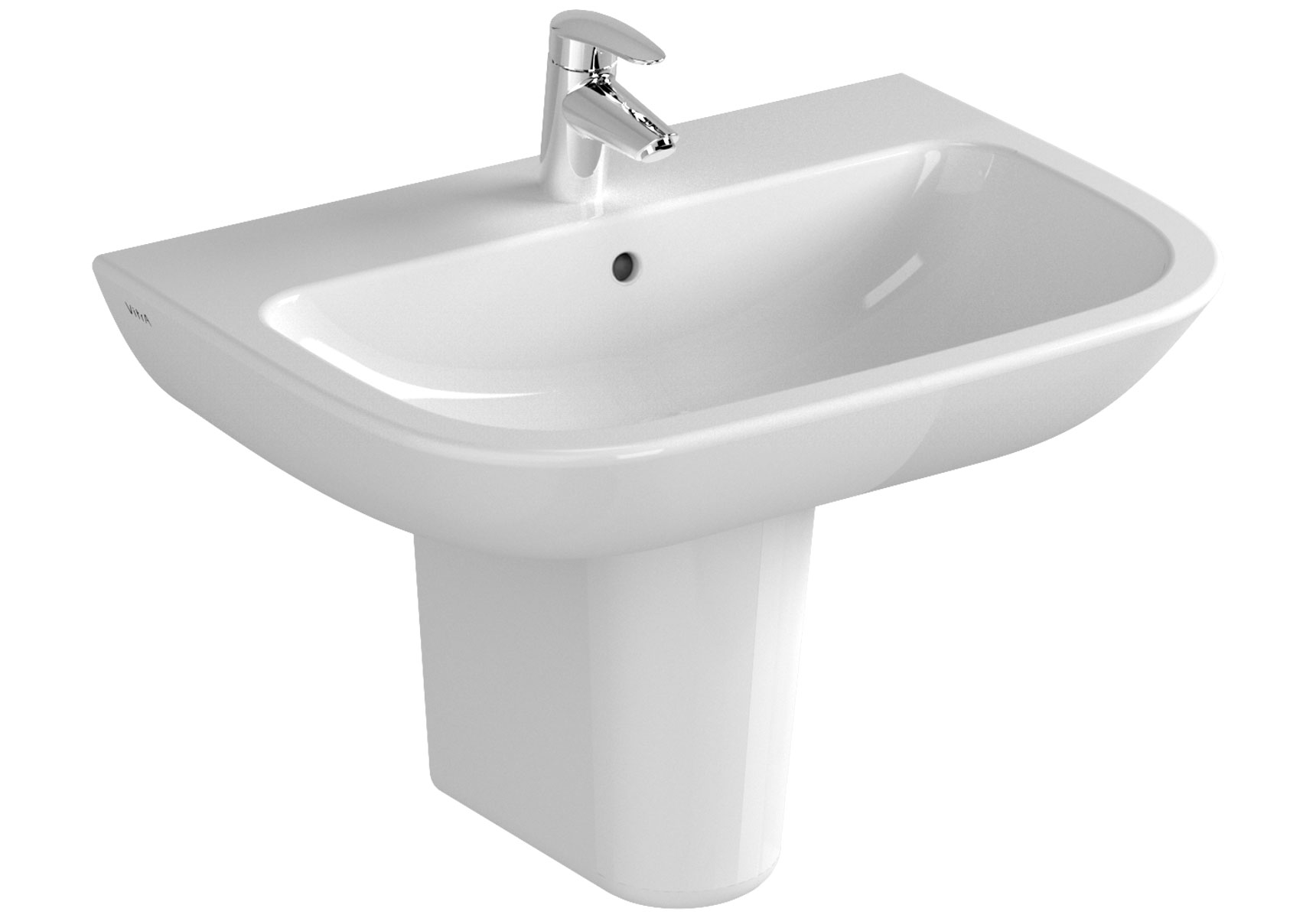 S20 Waschtisch, 65 cm,  1 Hahnloch mittig, mit Überlaufloch, Weiß