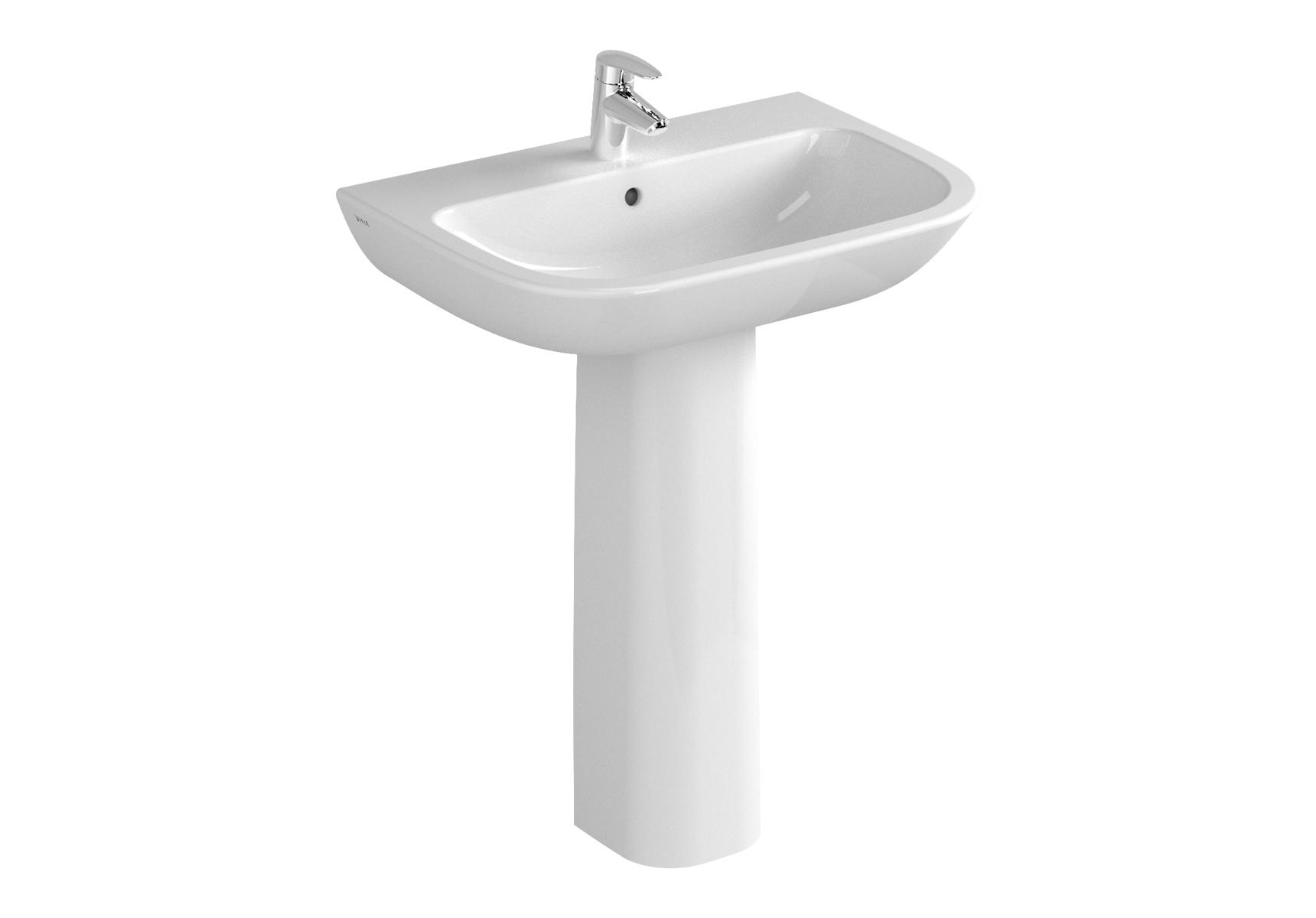 S20 Waschtisch, 65 cm, 1 Hahnloch mittig, ohne Überlaufloch, Weiß