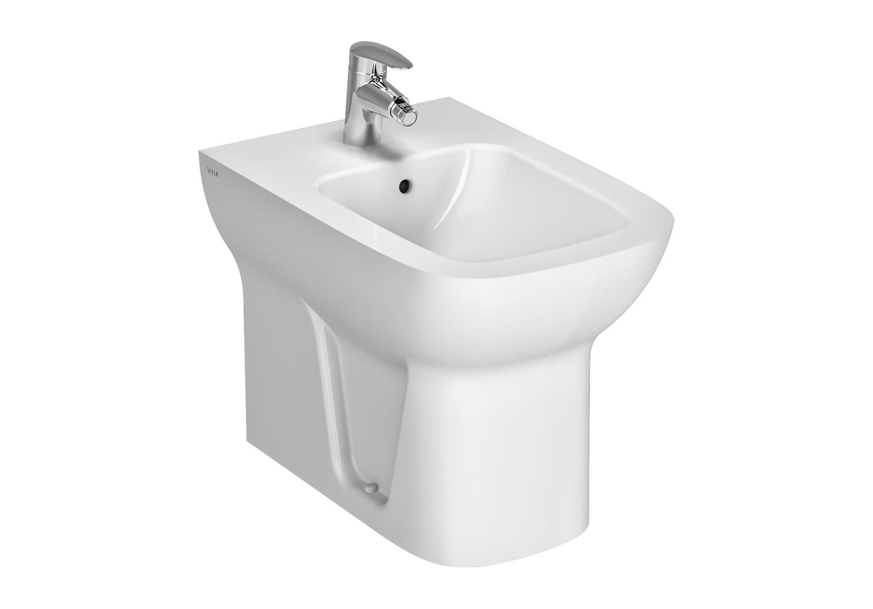 S20 bidet à poser, 54 cm, sans trous latéraux, avec trop-plein, 1 trou central, blanc