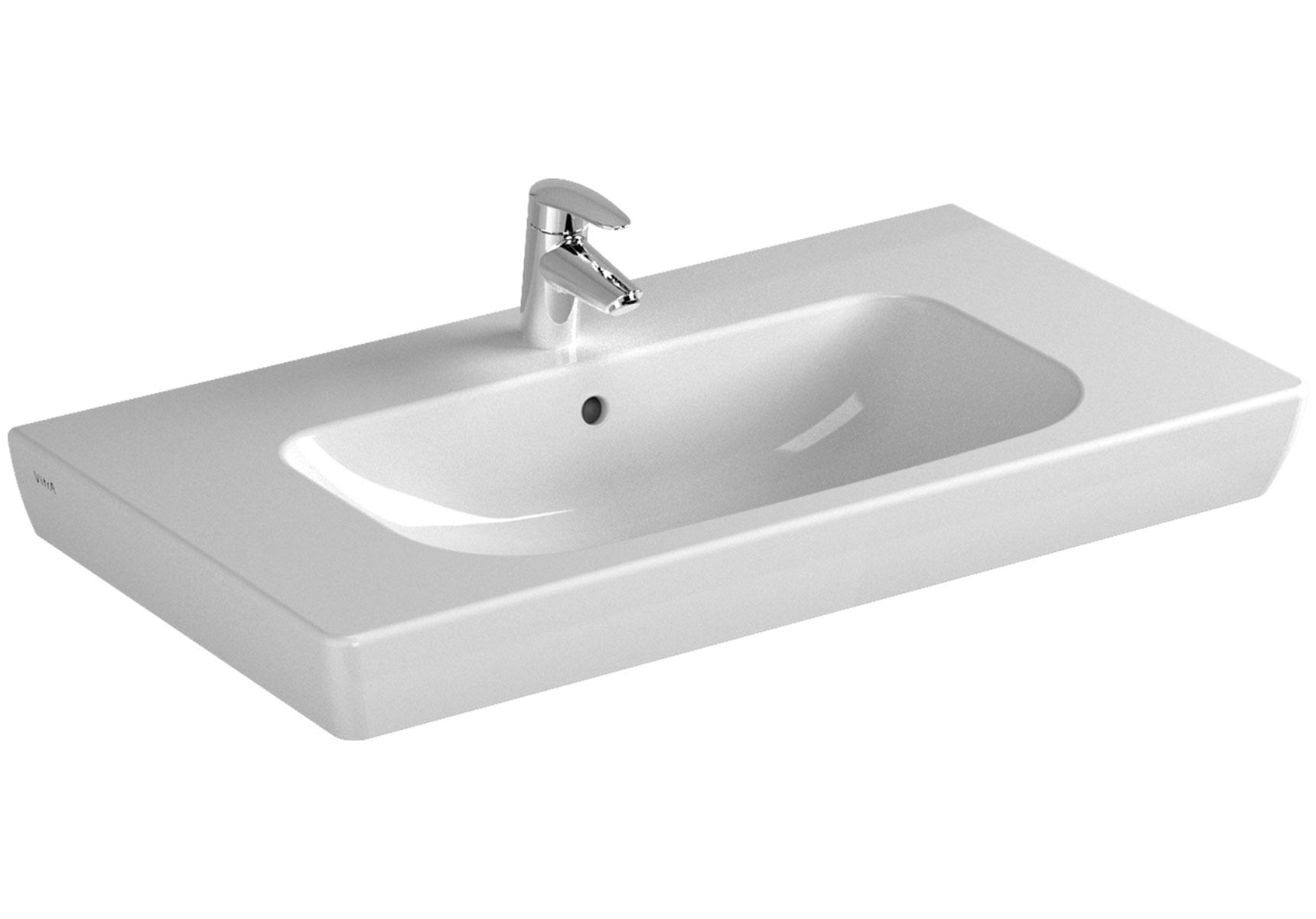 S20 plan céramique, 85 cm, 1 trou central pour robinet, avec trop-plein, blanc