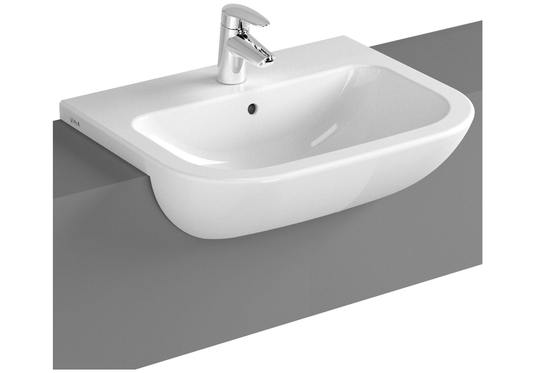 S20 vasque semi-encastré, 55 cm, 1 trou central pour robinet, blanc