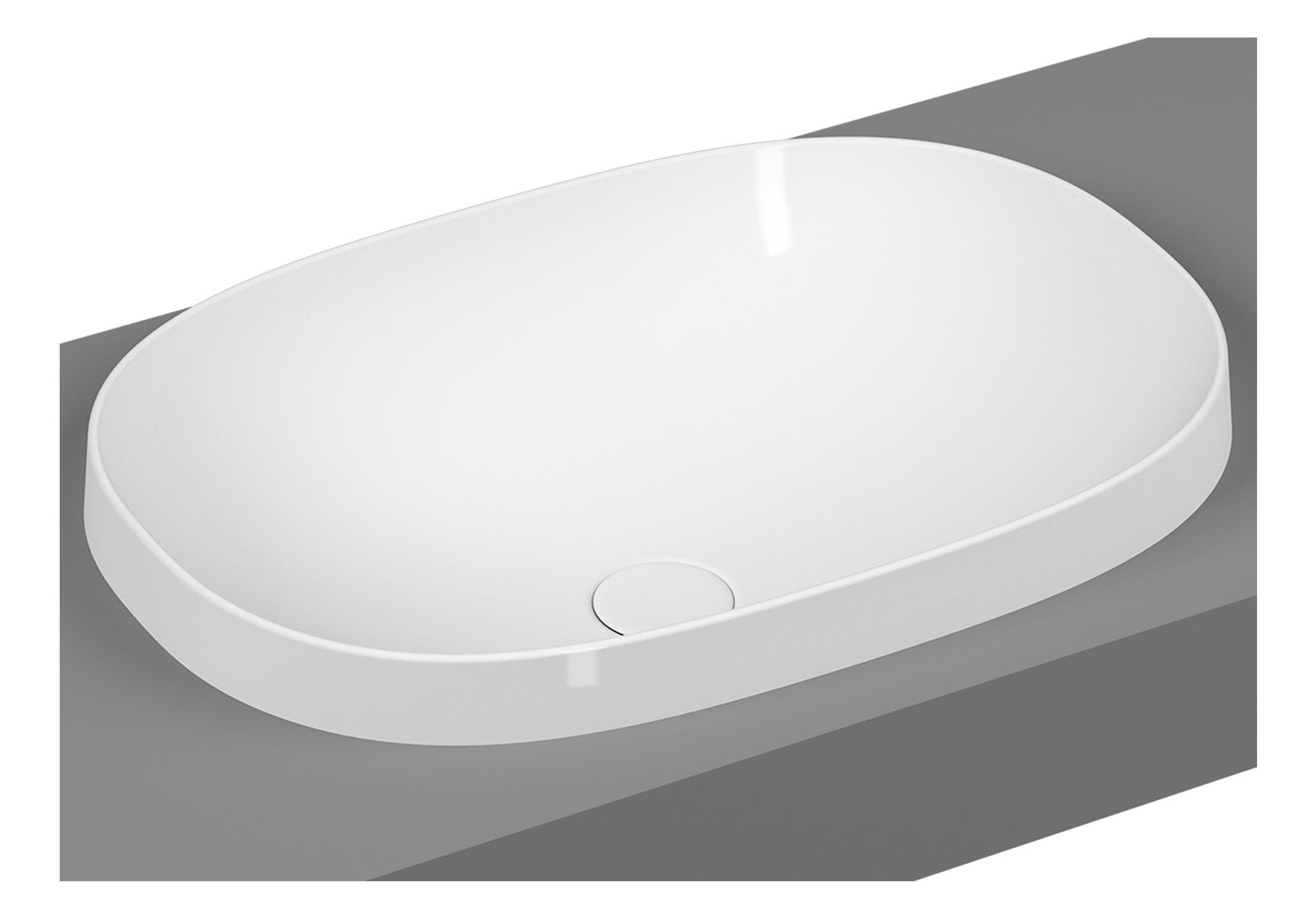 Frame vasque encastrée, ovale, 56 cm, sans plage de robinetterie, sans trop-plein, blanc brillant