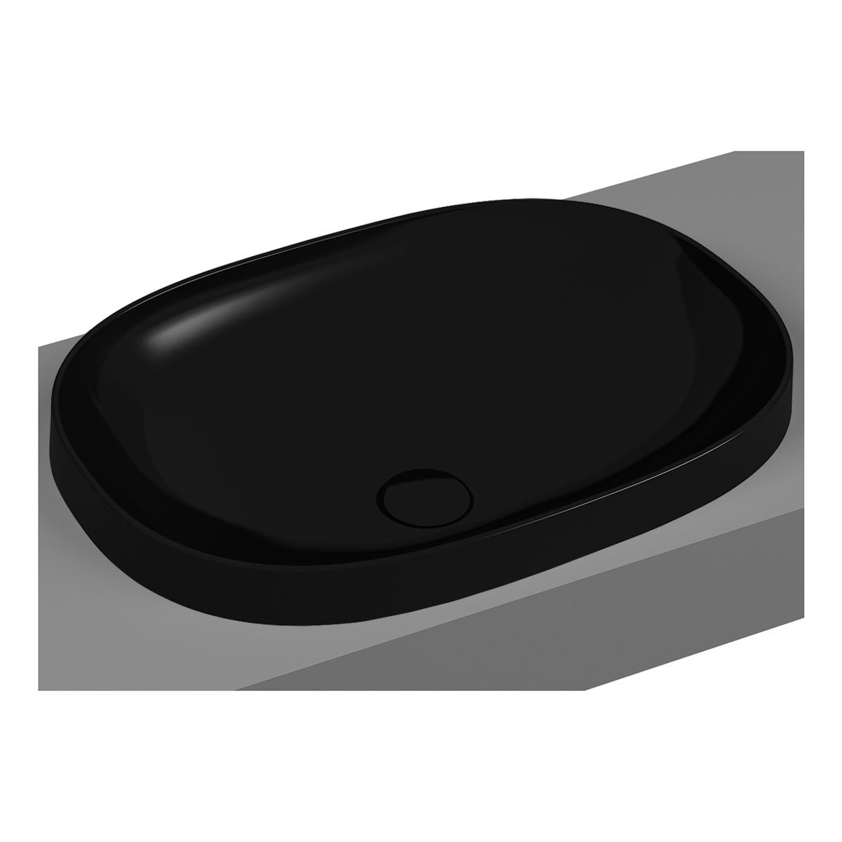 Frame vasque encastrée, ovale, 56 cm, sans plage de robinetterie, sans trop-plein, noir