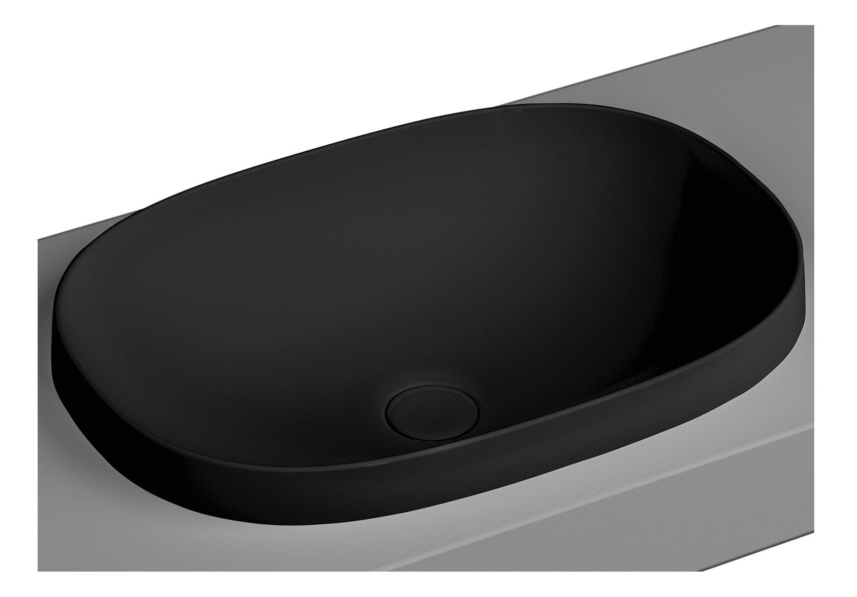 Frame vasque encastrée, ovale, 56 cm, sans plage de robinetterie, sans trop-plein, noir mat