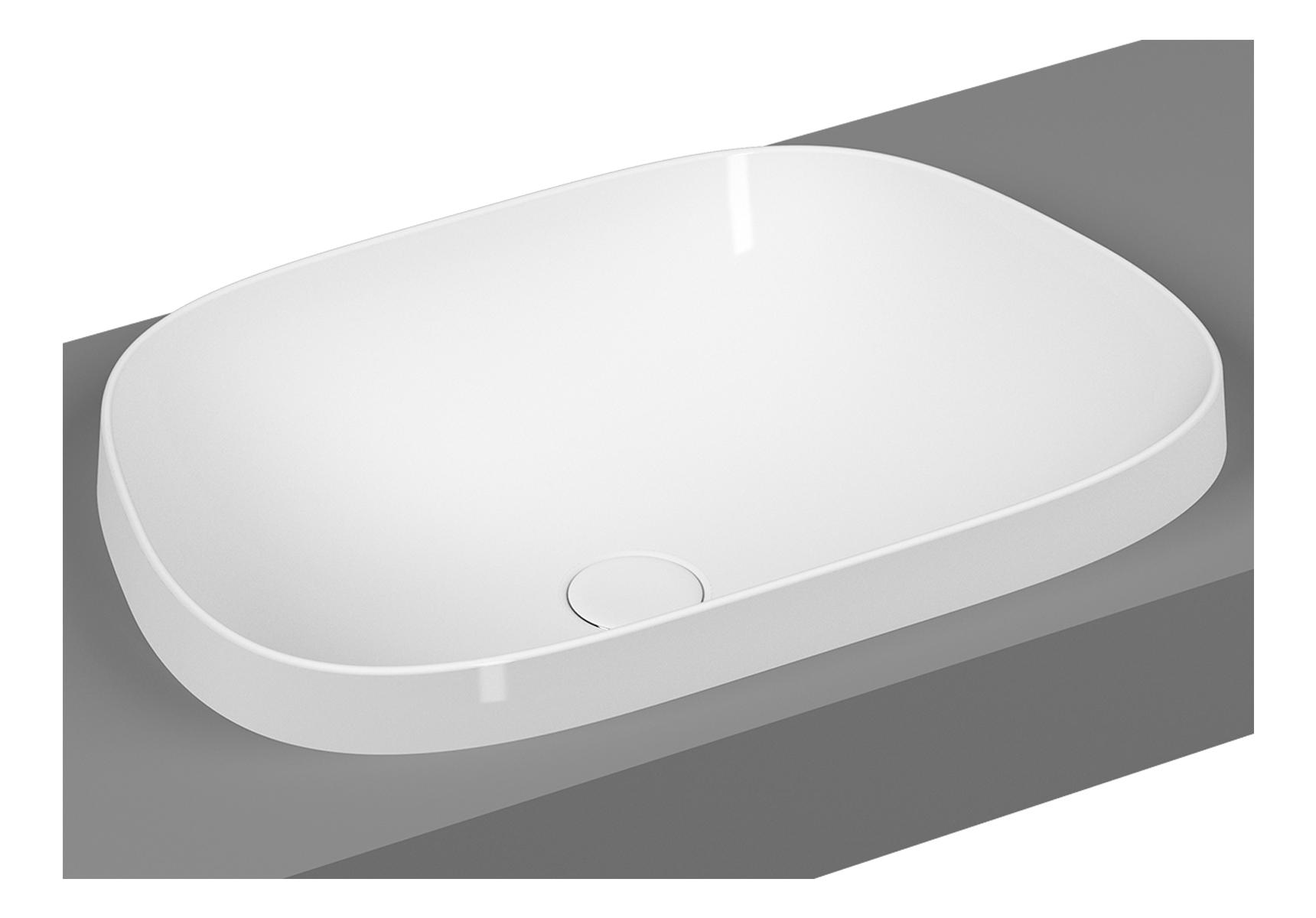 Frame vasque encastrée, trapèze, 57 cm, sans plage de robinetterie, sans trop-plein, blanc brillant
