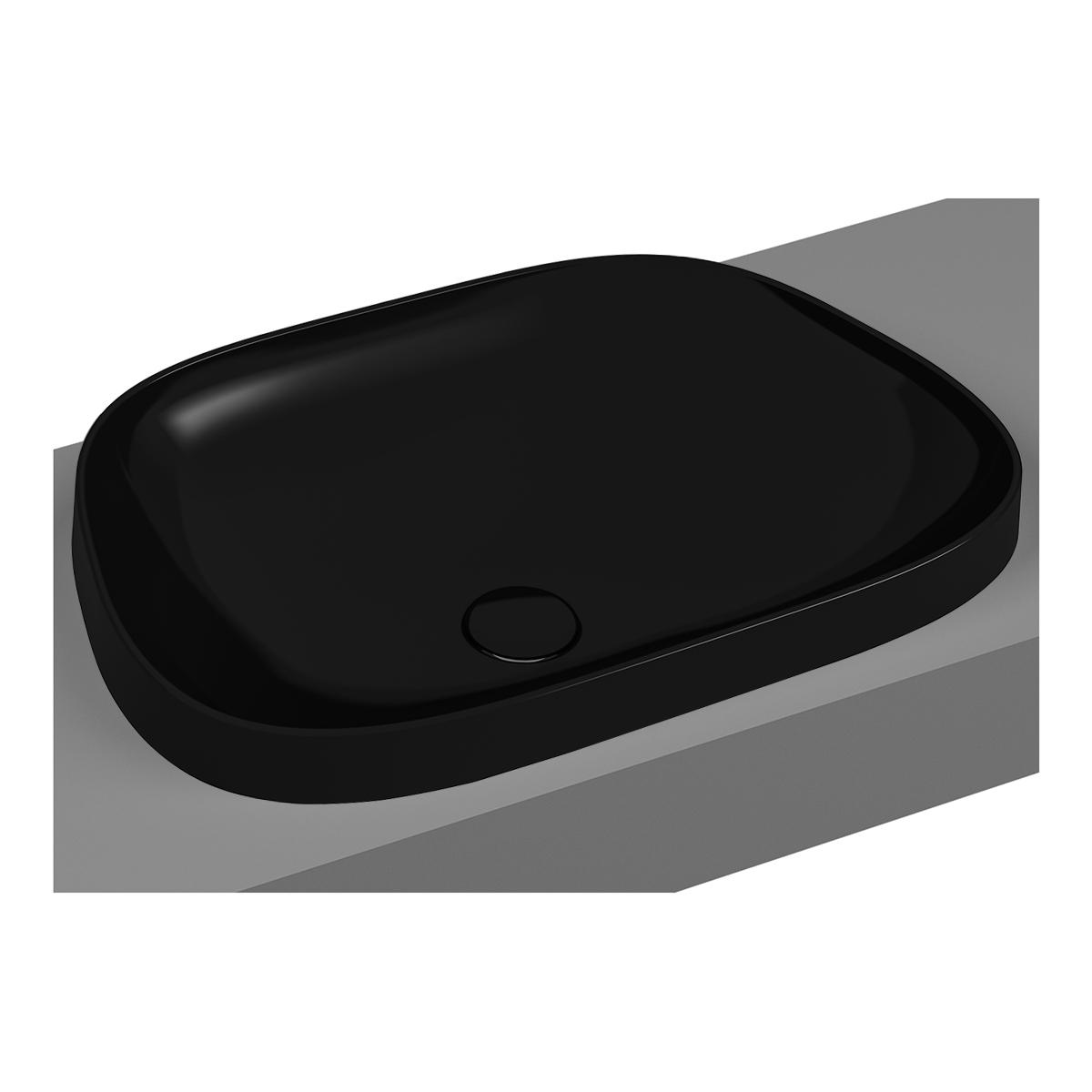 Frame vasque encastrée, trapèze, 57 cm, sans plage de robinetterie, sans trop-plein, noir
