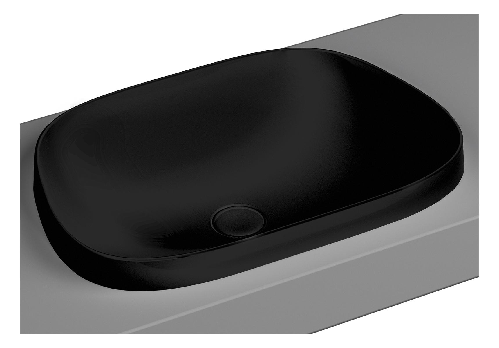 Frame vasque encastrée, trapèze, 57 cm, sans plage de robinetterie, sans trop-plein, noir mat