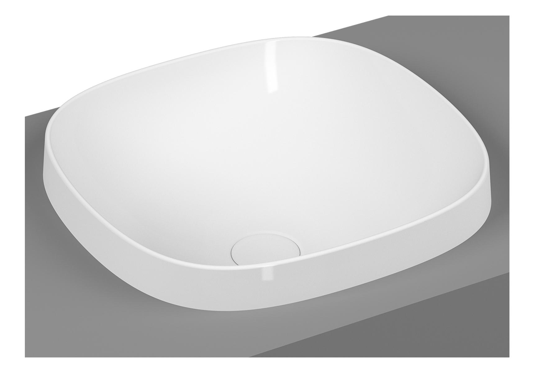 Frame vasque encastrée, rectangulaire, 41 cm, sans plage de robinetterie, sans trop-plein, blanc brillant