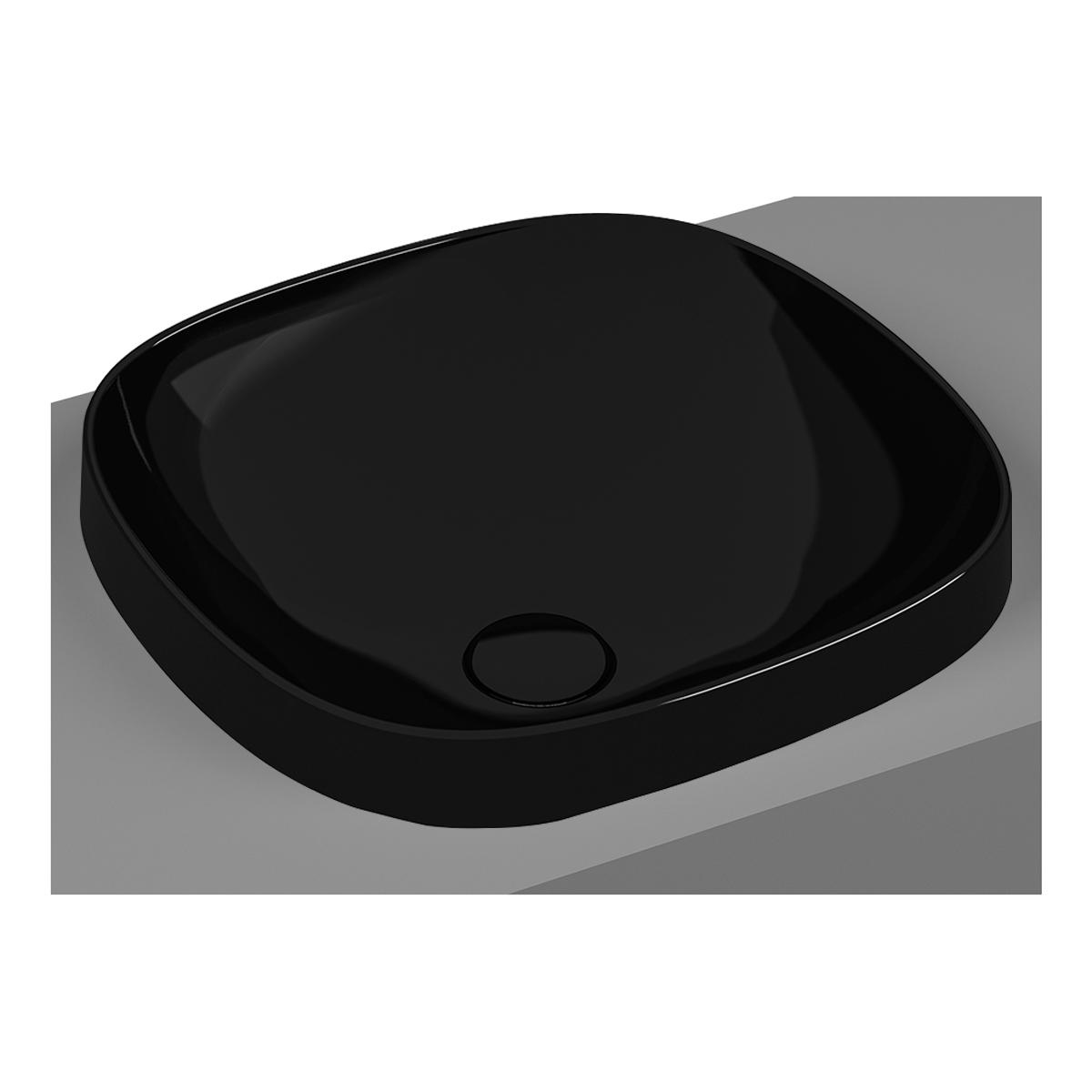 Frame vasque encastrée, rectangulaire, 41 cm, sans plage de robinetterie, sans trop-plein, noir