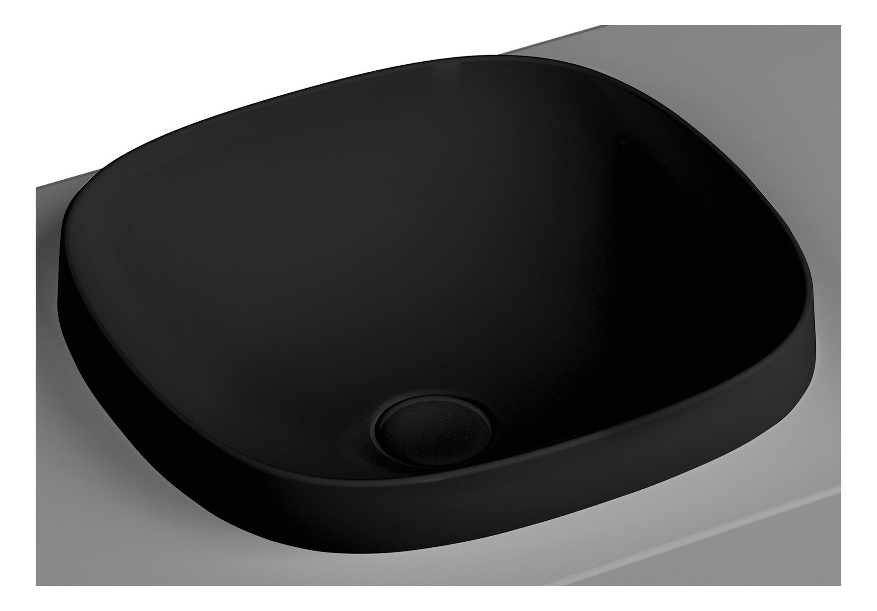 Frame vasque encastrée, rectangulaire, 41 cm, sans plage de robinetterie, sans trop-plein, noir mat