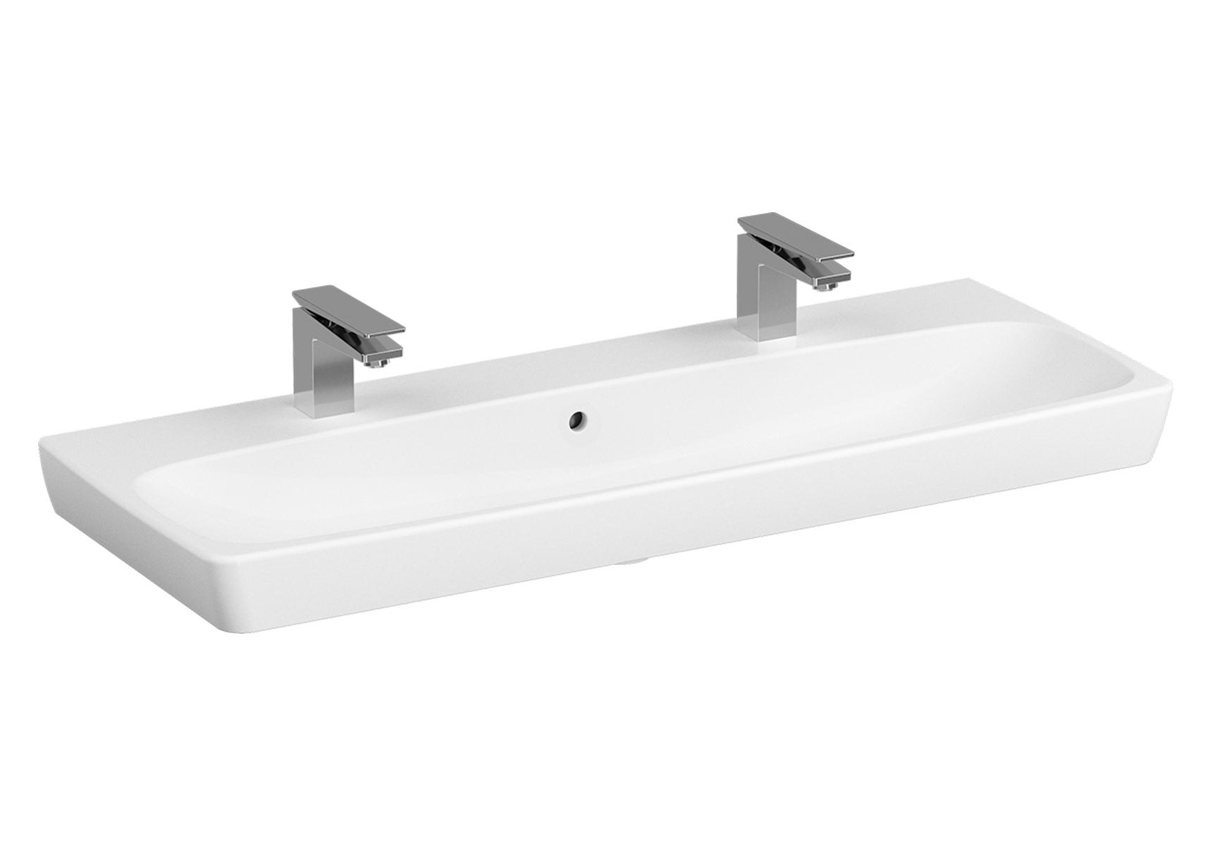 Metropole Doppelaufsatzwaschtisch, 1 Becken, Weiß