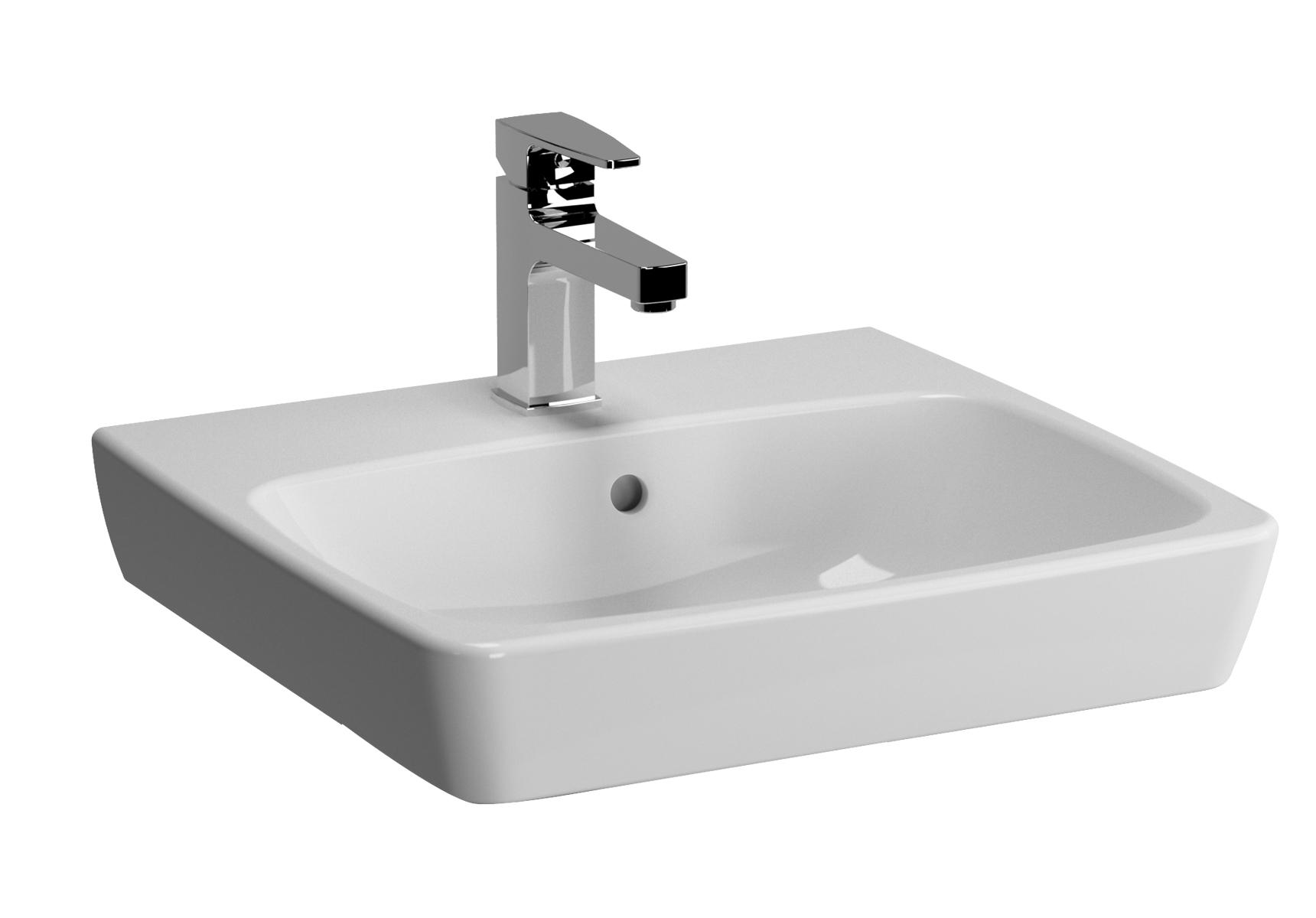 Metropole lavabo, 50 cm, 1 trou de robinet central, sans trop-plein