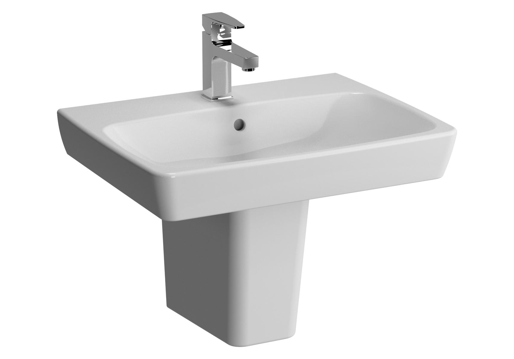 Metropole lavabo, 60 cm, 1 trou de robinet central, avec trop-plein
