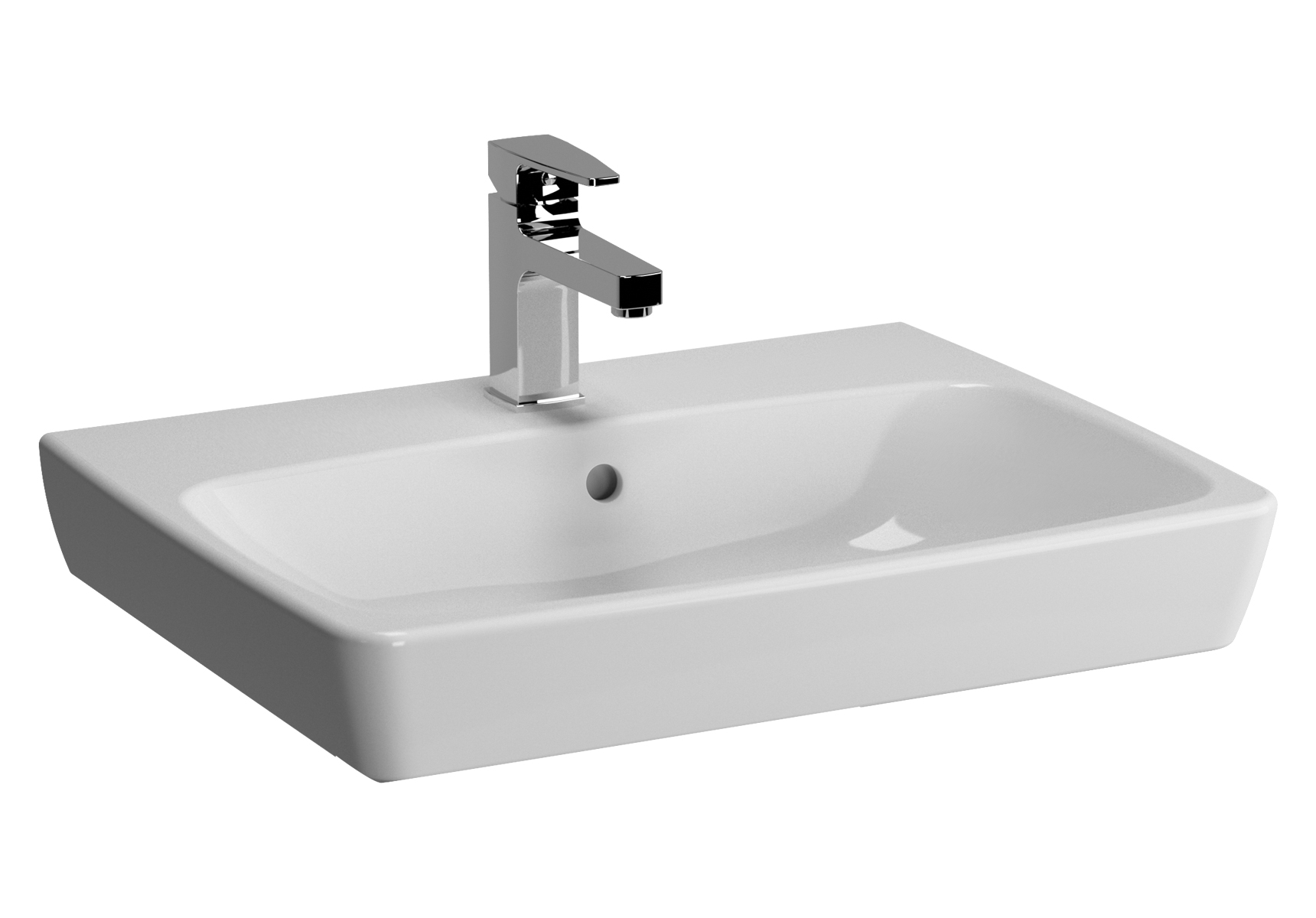 Metropole lavabo, 60 cm, 1 trou de robinet central, sans trop-plein