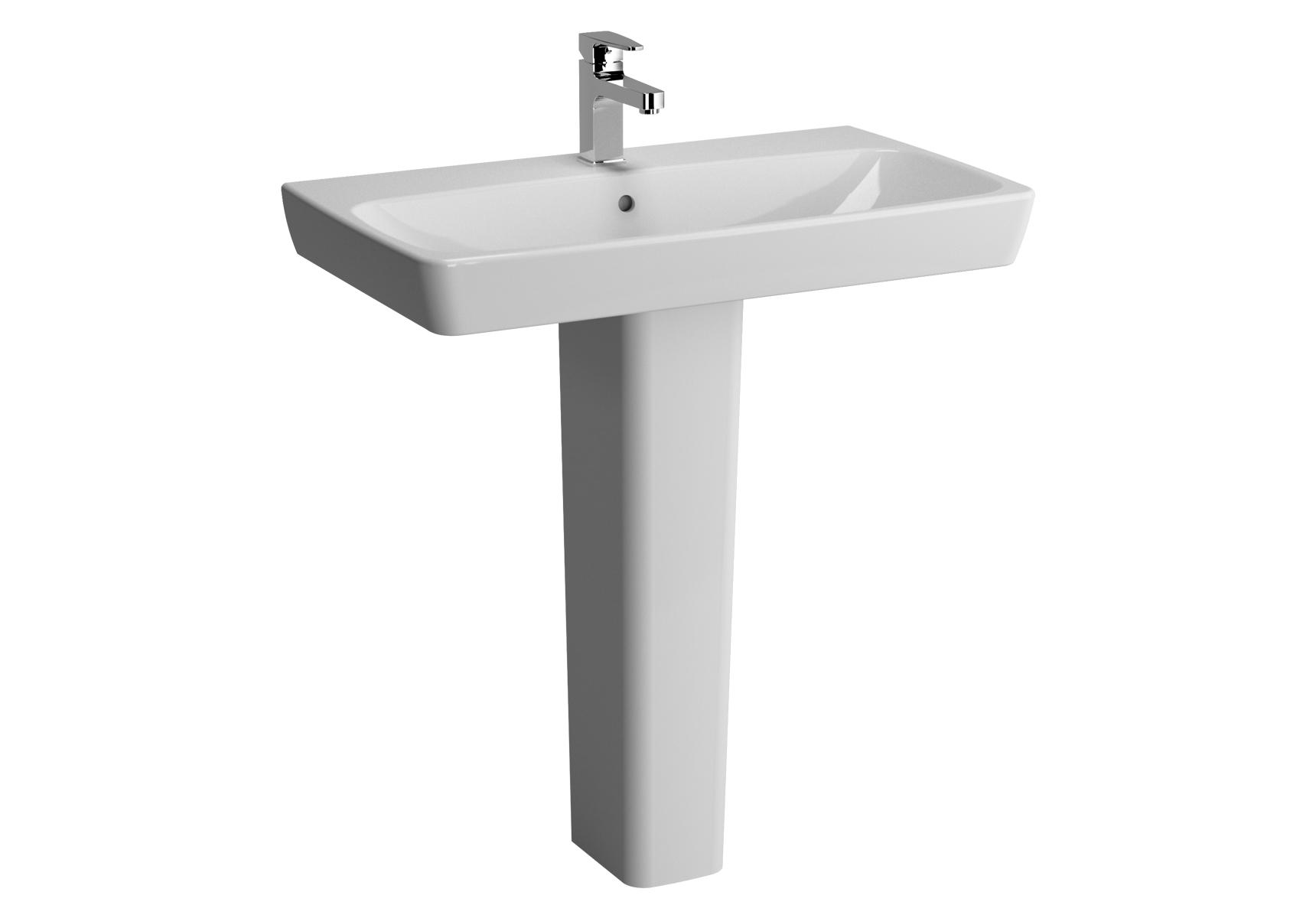 Metropole lavabo, 80 cm, 1 trou de robinet central, avec trop-plein