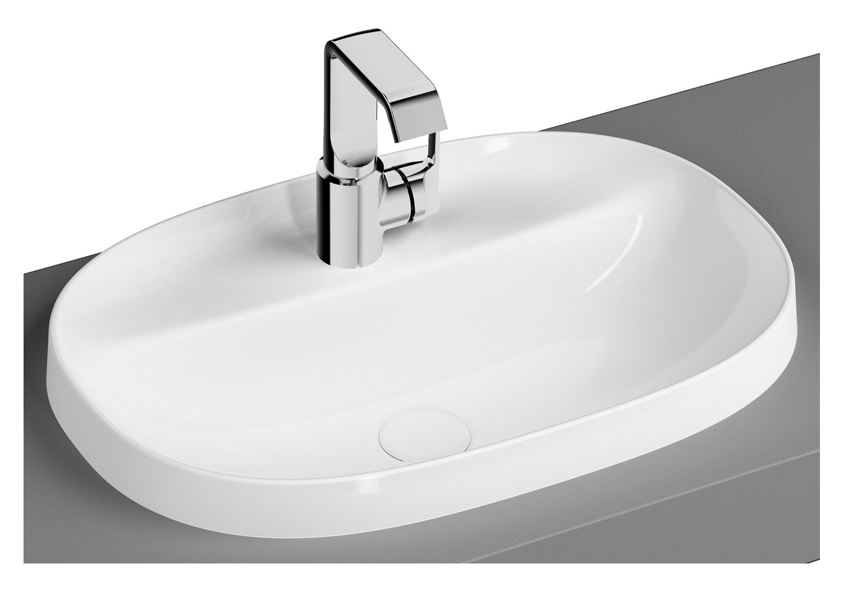 Frame Einbauwaschtisch, oval, 56 cm, Weiß