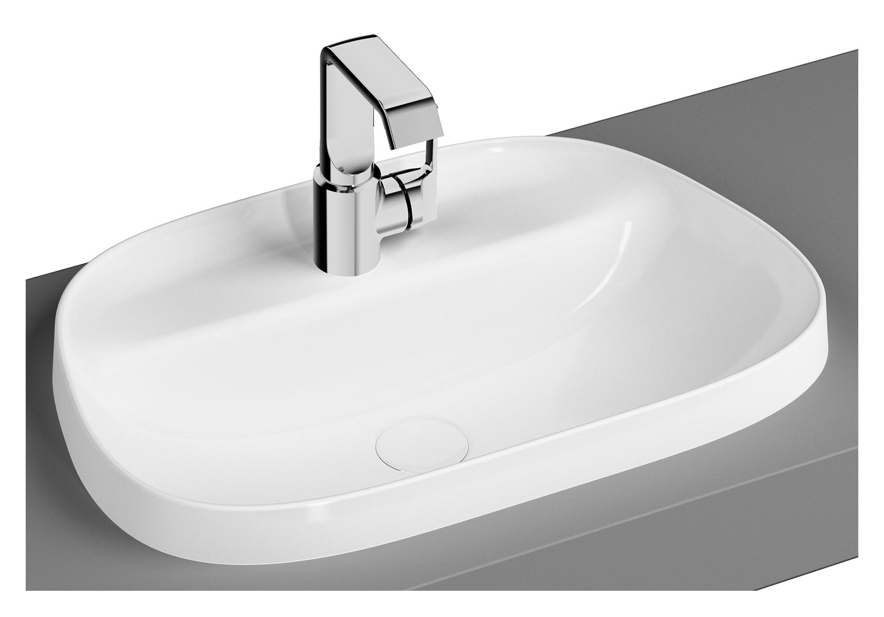 Frame vasque, trapèze, 57 cm, 1 trou pour robinet, sans trop-plein, blanc brillant