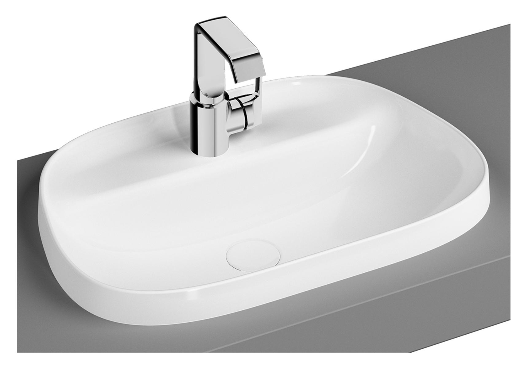 Frame vasque, trapèze, 57 cm, 1 trou pour robinet, sans trop-plein, noir mat