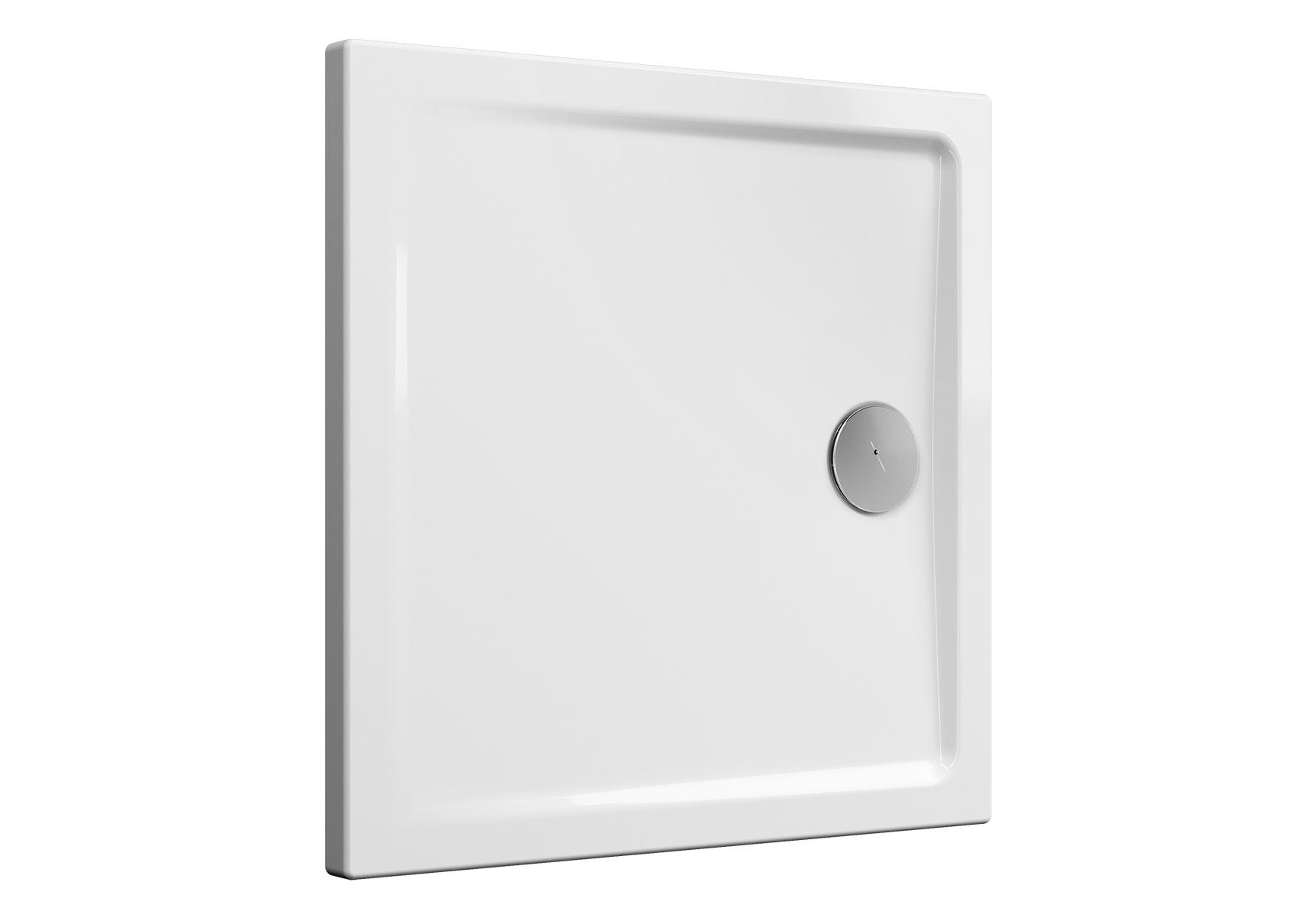 Cascade receveur ultra plat en céramique, 80 cm, carré, blanc haut brillance