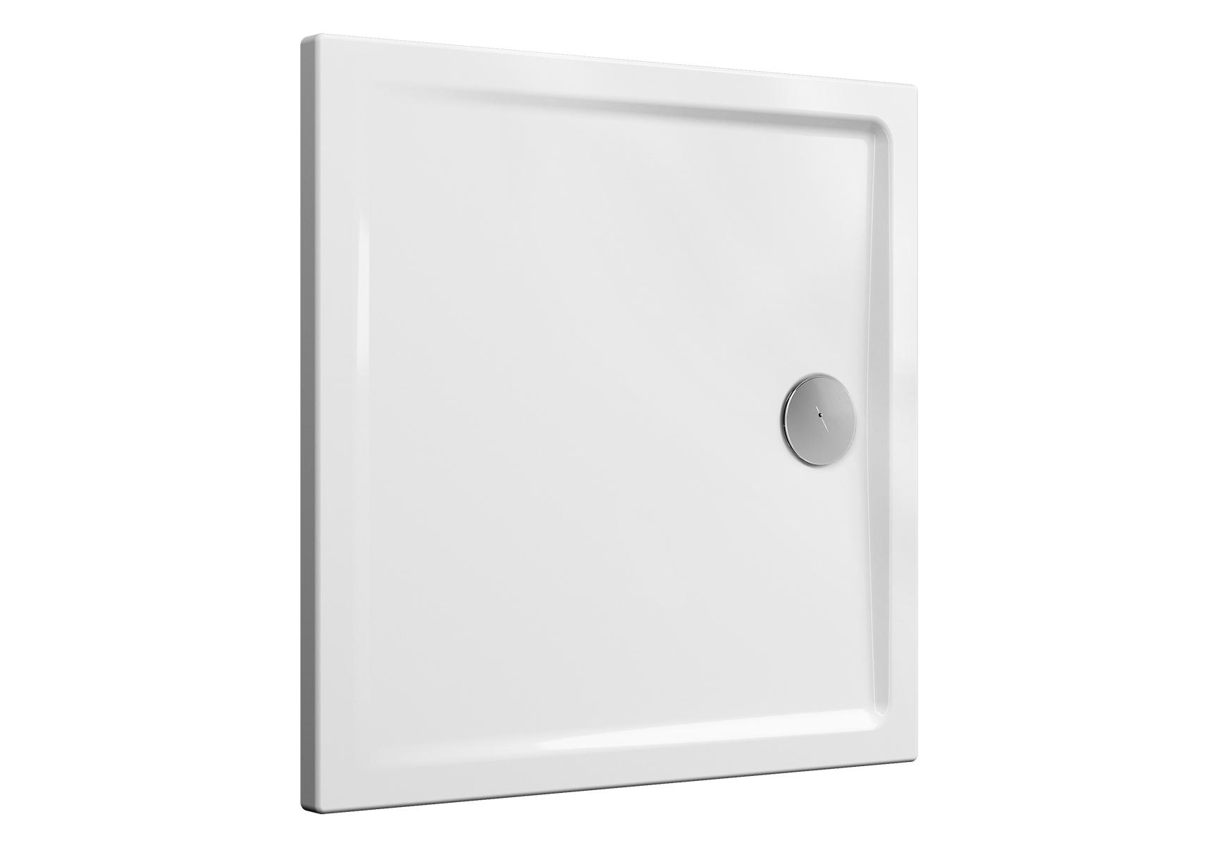 Cascade receveur ultra plat en céramique, 90 cm, carré, blanc haute brillance