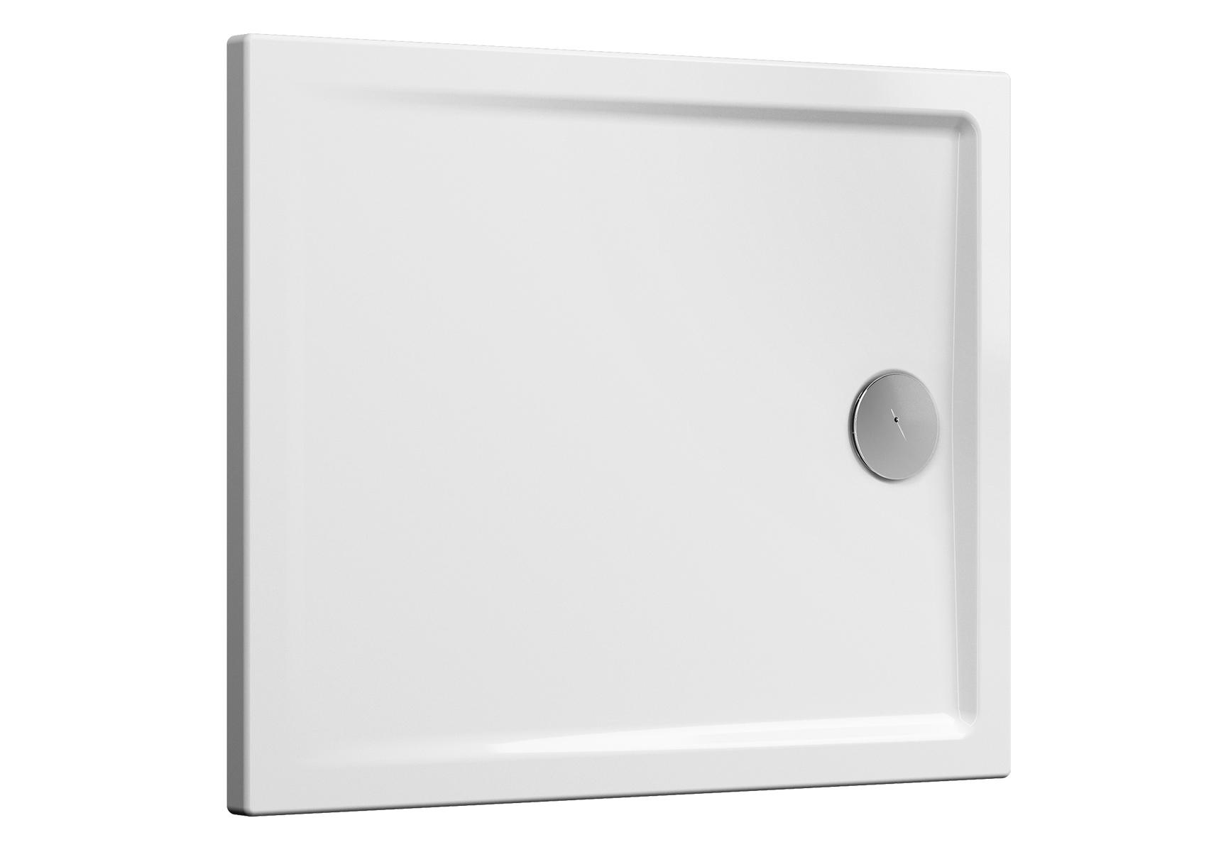 Cascade receveur ultra plat en céramique, 100  x  80 cm, blanc mat