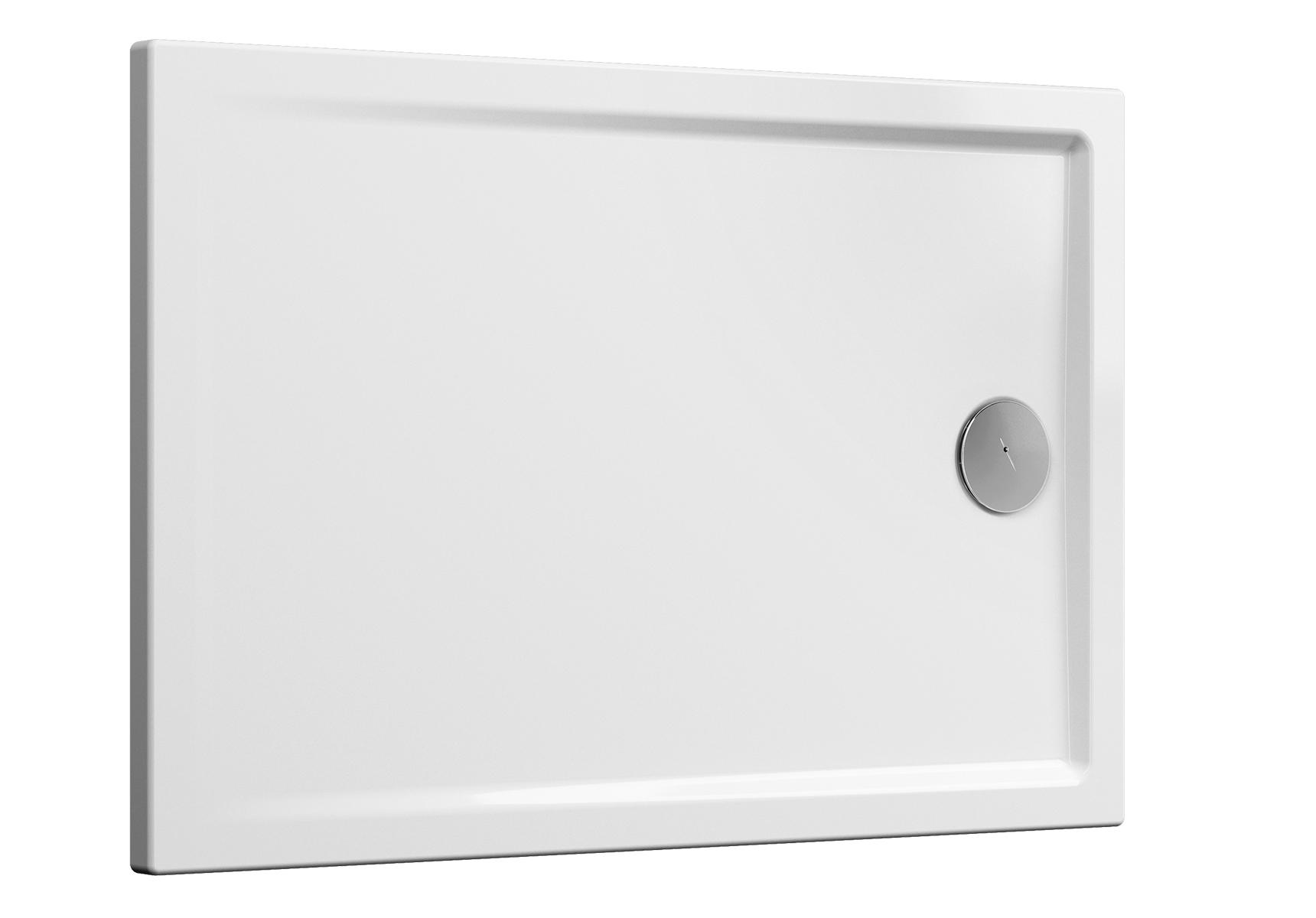 Cascade receveur ultra plat en céramique, 100  x  80 cm, blanc haute brillance