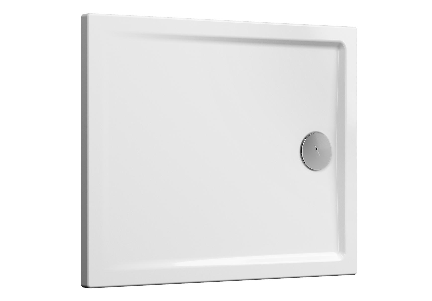 Cascade receveur ultra plat en céramique, 100  x  80 cm, blanc