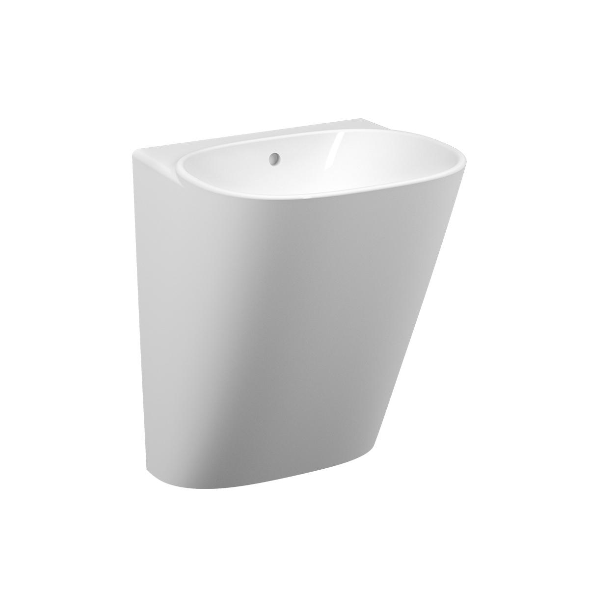 Frame Halbmonoblock, ohne Hahnloch, mit Überlaufloch, Weiß mit VitrA Clean