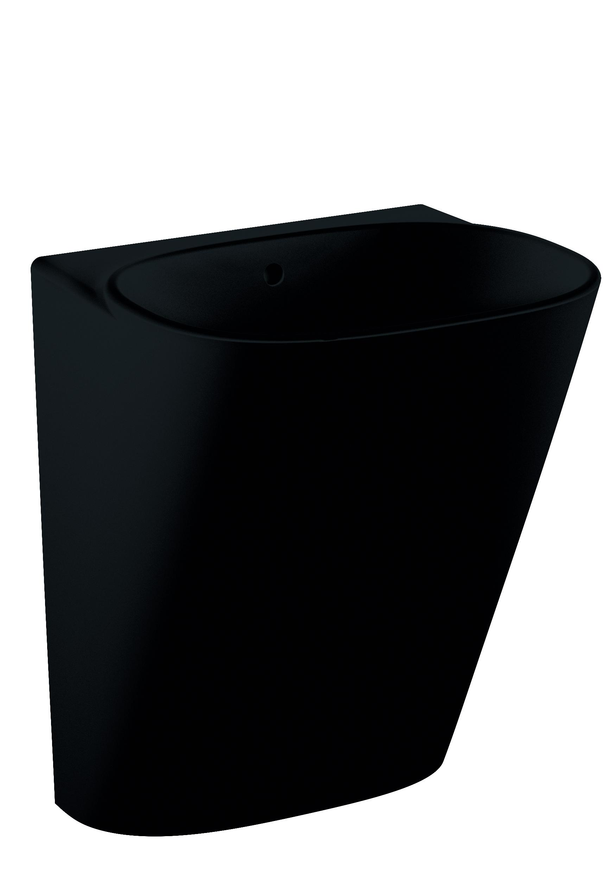 Frame Halbmonoblock, ohne Hahnloch, mit Überlaufloch, Schwarz mit VitrA Clean