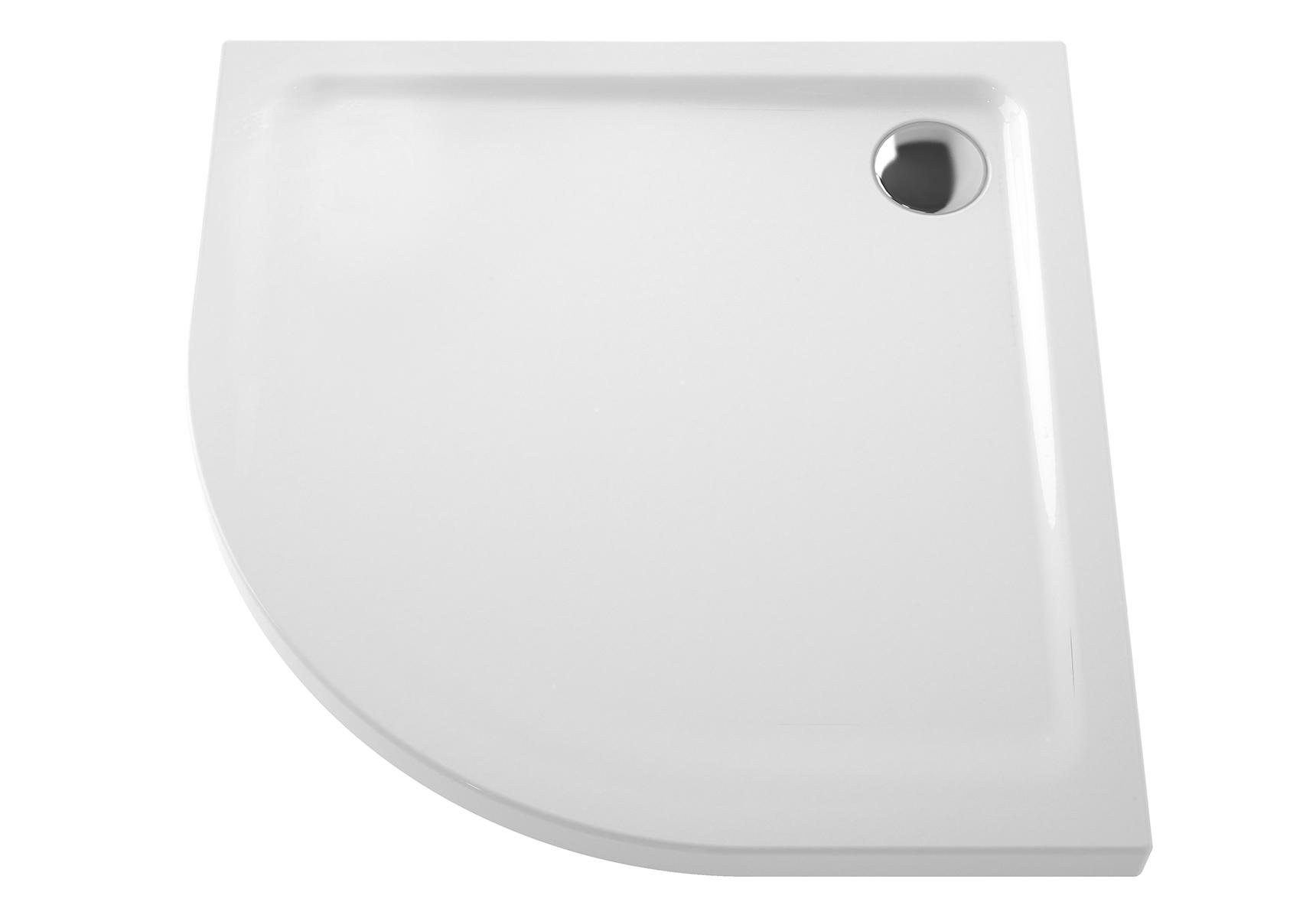 Arkitekt receveur à encastrer ou à poser extra plat, 90  x  90 cm, quart de rond